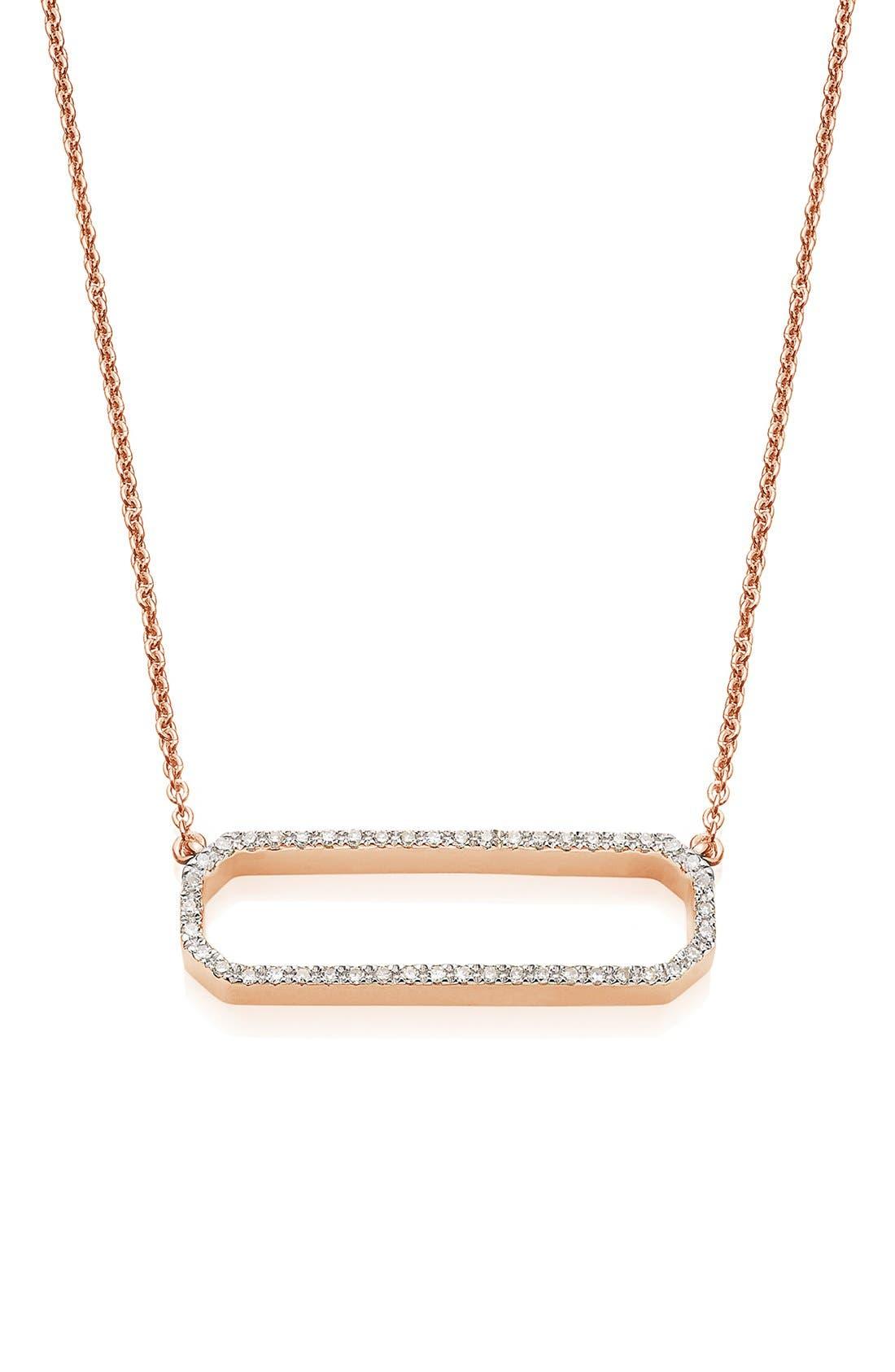 'Naida' Open Rectangle Diamond Pendant Necklace,                         Main,                         color, Rose Gold