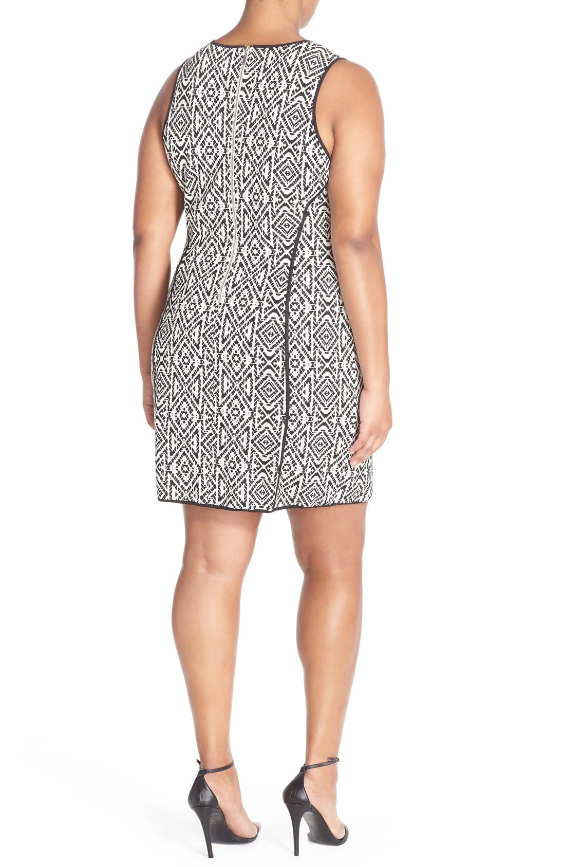 'Joslyn' Sleeveless Seam Detail Ponte Sheath Dress,                             Alternate thumbnail 2, color,                             Stamped Geo