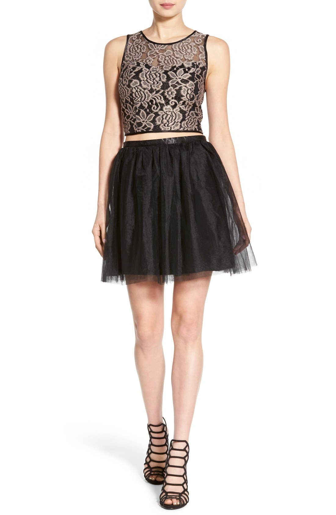 Alternate Image 1 Selected - Love, Nickie Lew Lace Bodice Two-Piece Dress