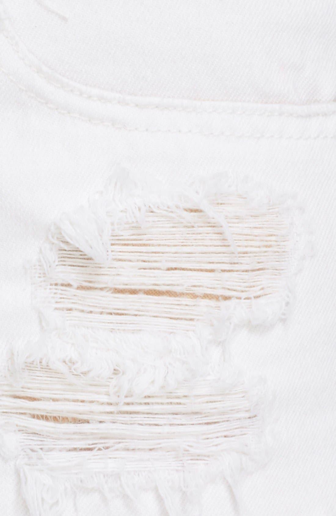 Ripped Cutoff Denim Shorts,                             Alternate thumbnail 5, color,                             White Marin
