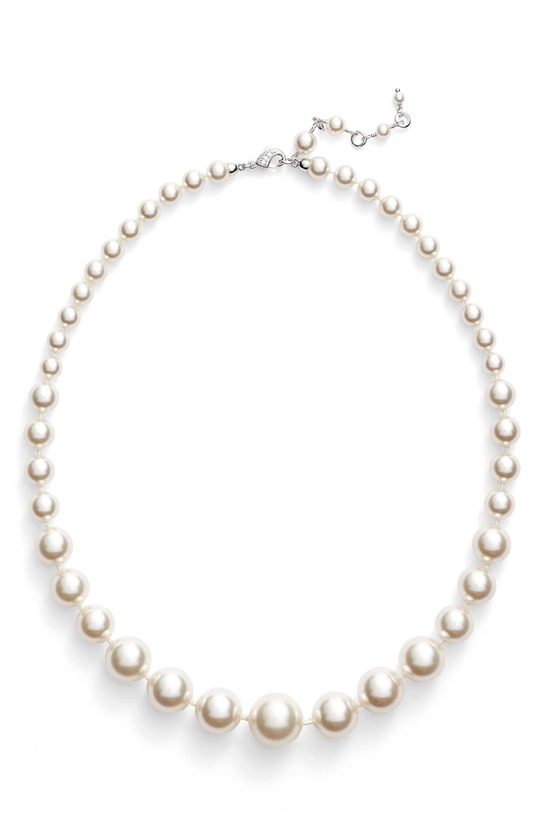 Graduated Imitation Pearl Necklace,                             Alternate thumbnail 2, color,                             Ivory