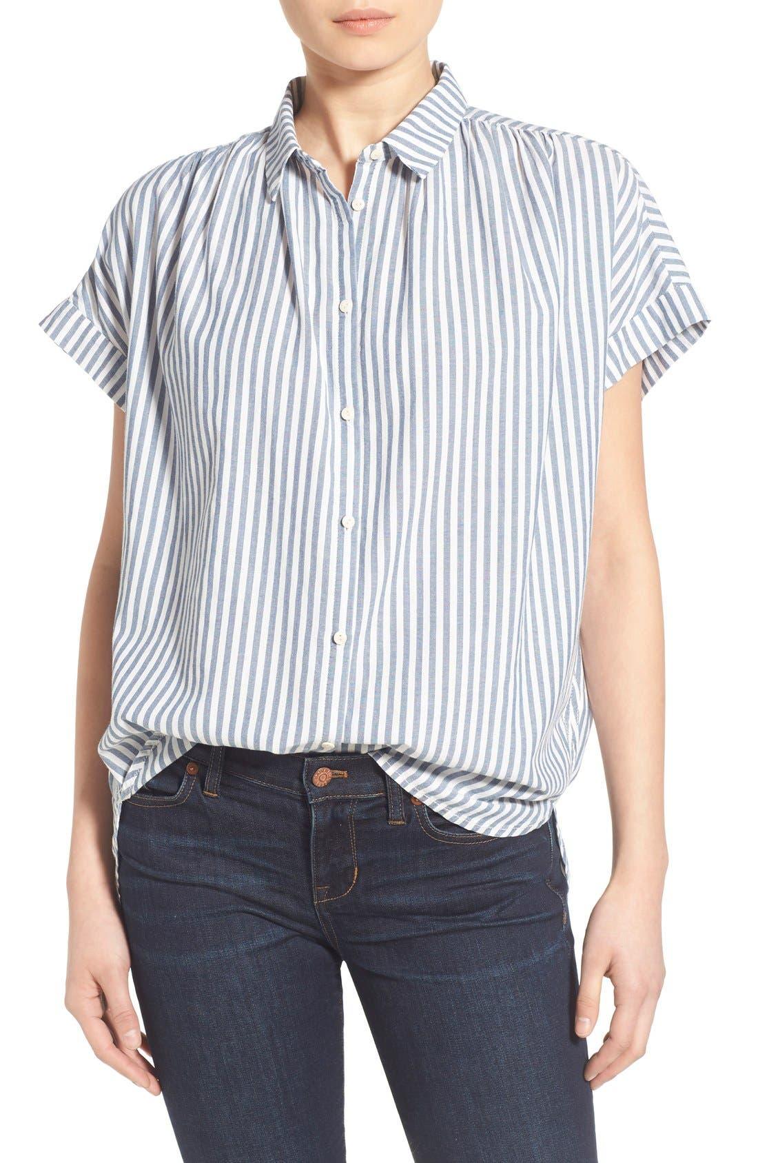 'Central' Stripe Cotton Shirt,                             Main thumbnail 1, color,                             Chambray Stripe