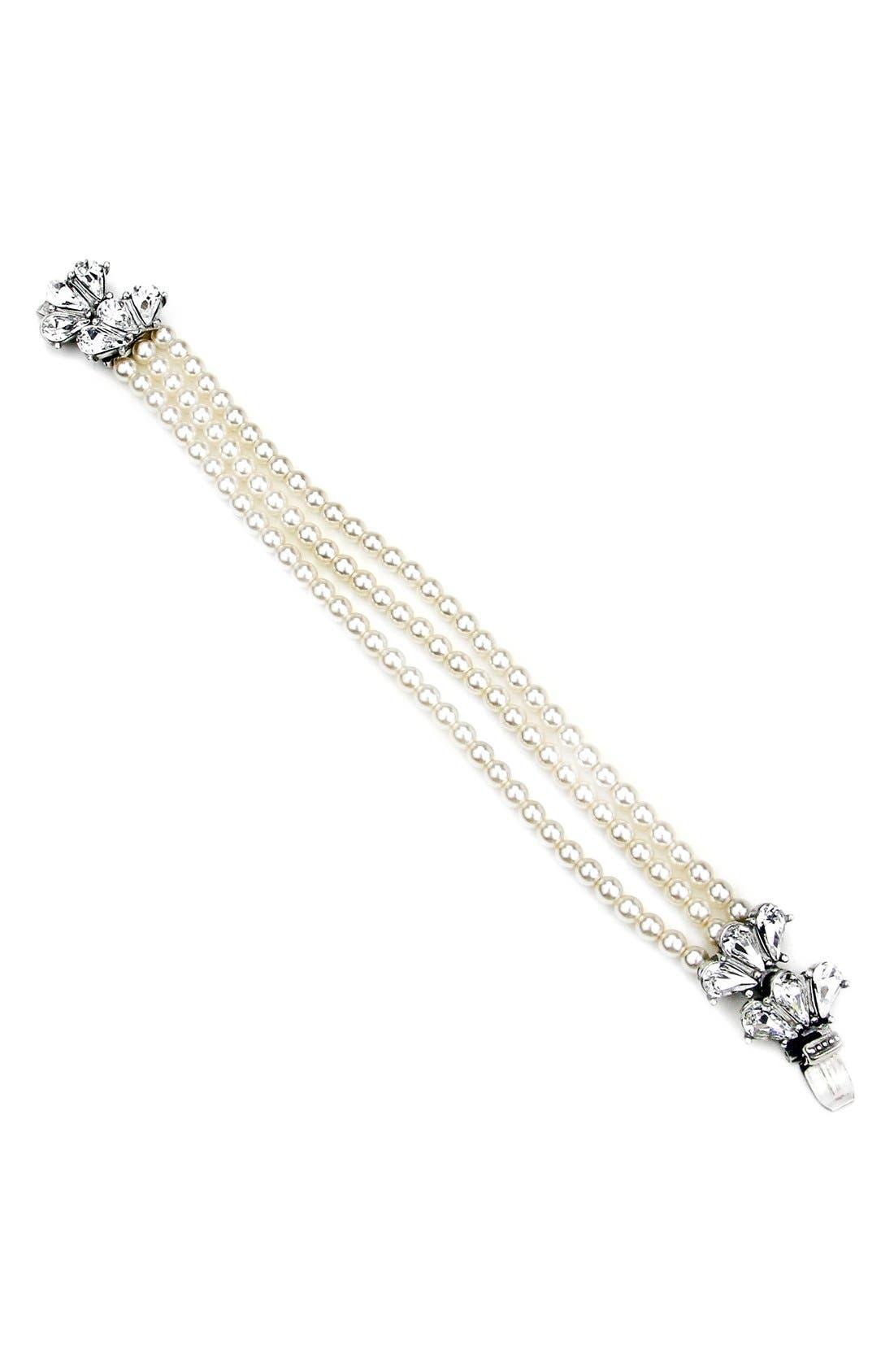 BEN-AMUN Cascading Crystal Glass Pearl Strand Bracelet