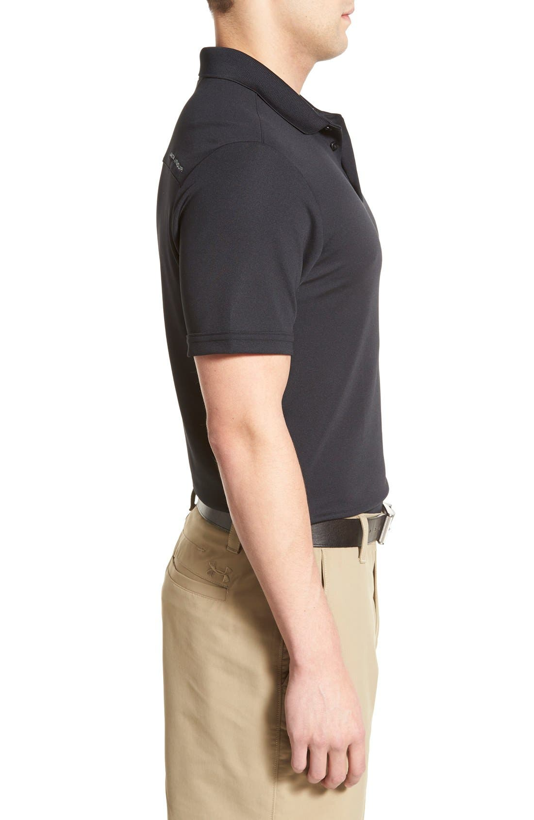'Performance 2.0' Sweat Wicking Stretch Polo,                             Alternate thumbnail 3, color,                             Black