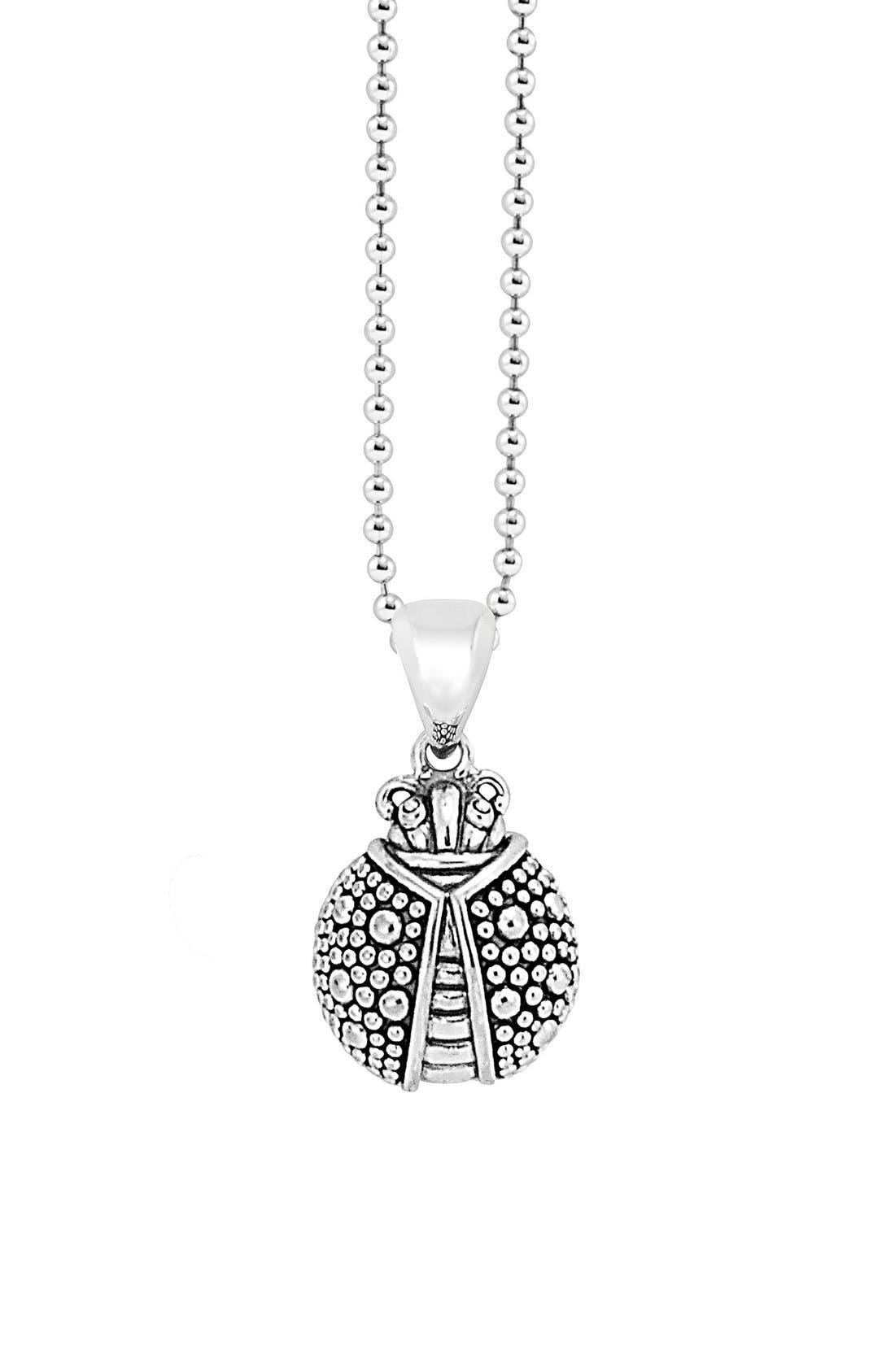 'Rare Wonders - Ladybug' Long Talisman Necklace,                             Alternate thumbnail 4, color,                             Silver