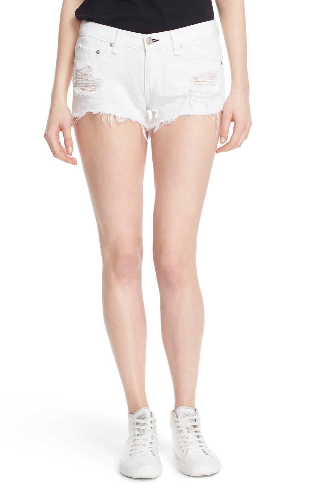 Ripped Cutoff Denim Shorts,                         Main,                         color, White Marin