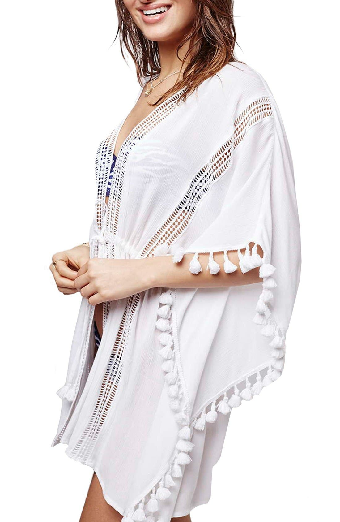 Lace Detail Caftan Cover-Up,                             Main thumbnail 1, color,                             White