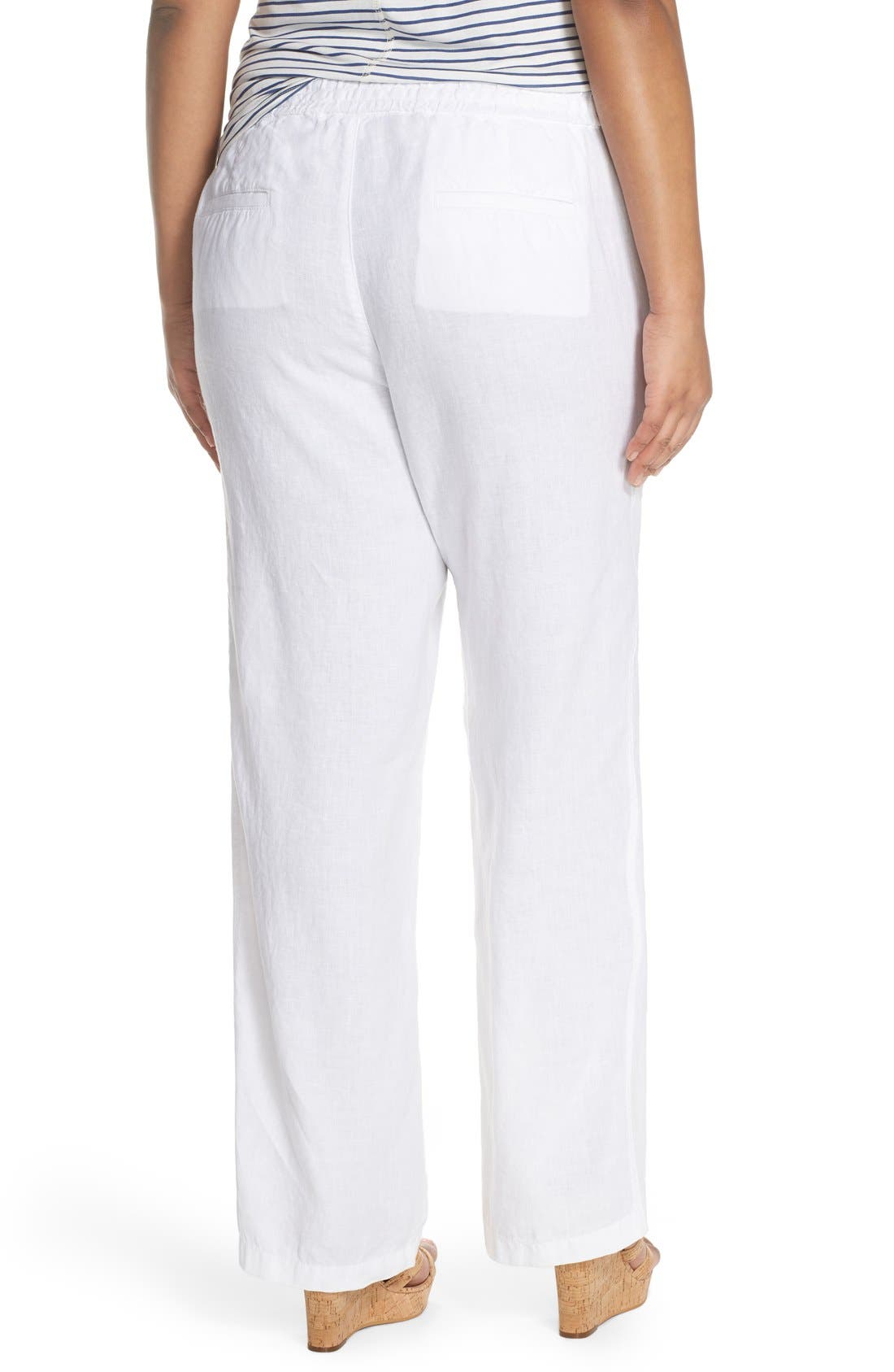 Alternate Image 3  - Caslon® Drawstring Linen Pants (Plus Size)