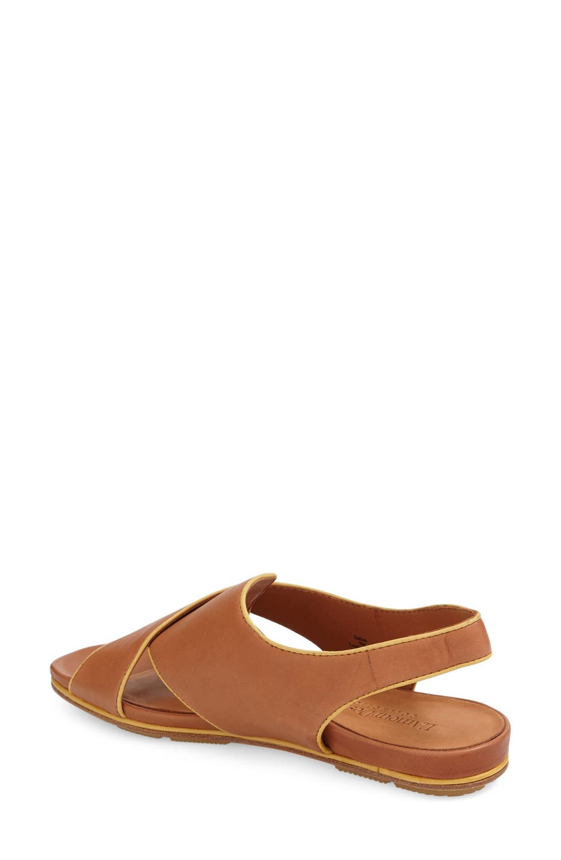 'Dallon' Crisscross Flat Sandal,                             Alternate thumbnail 2, color,                             Cognac Leather