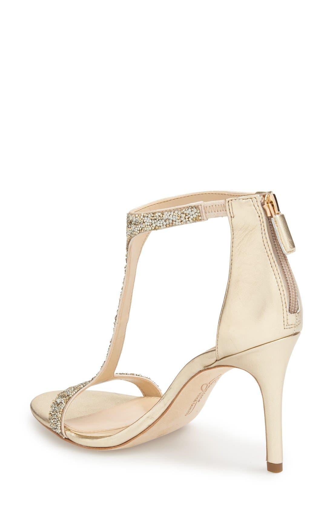 'Phoebe' Embellished T-Strap Sandal,                             Alternate thumbnail 2, color,                             Crystal/Gold Nappa