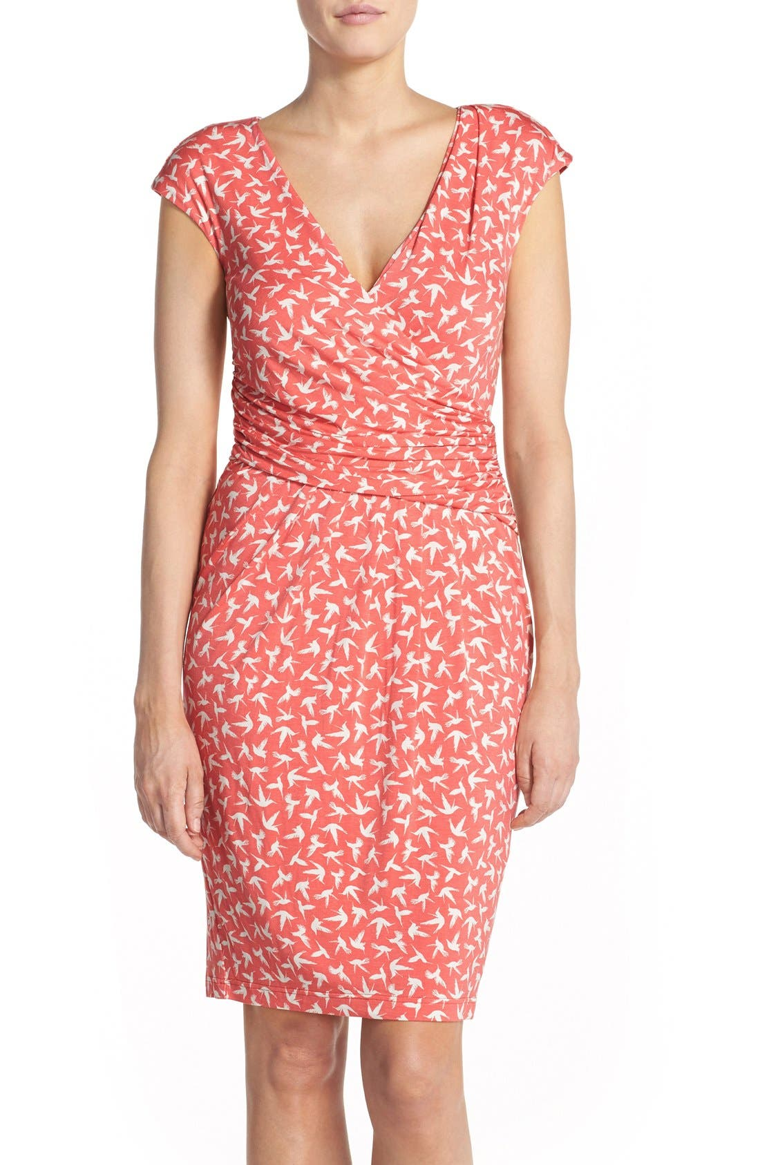Main Image - Adrianna Papell Bird Print Knit Sheath Dress