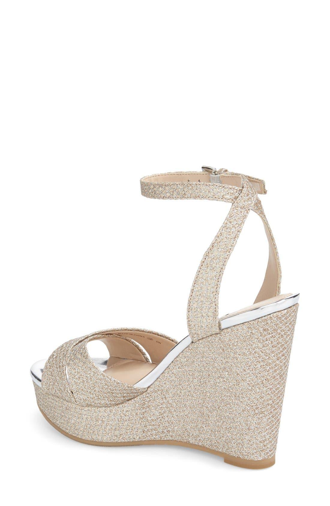 Alternate Image 2  - Nina 'Gianina' Glitter Mesh Wedge Sandal (Women)