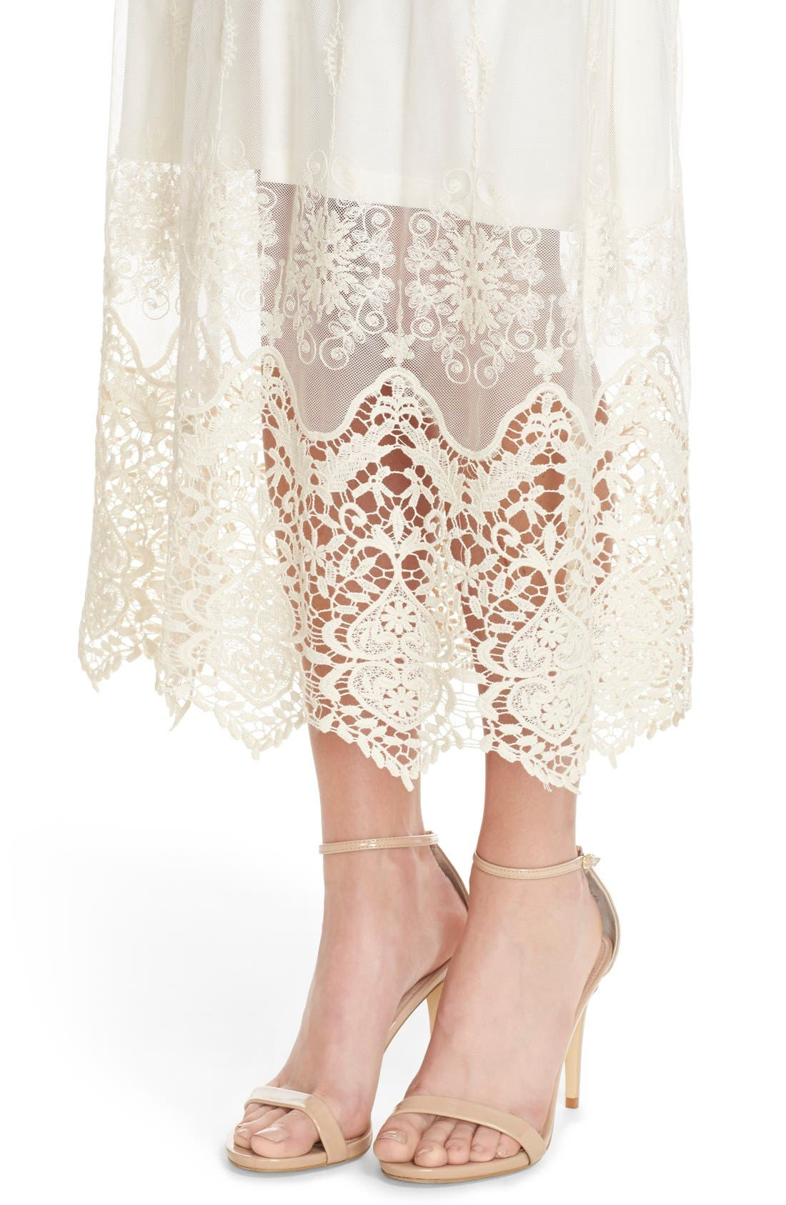 Embroidered Mesh & Cotton Midi Dress,                             Alternate thumbnail 4, color,                             Marie