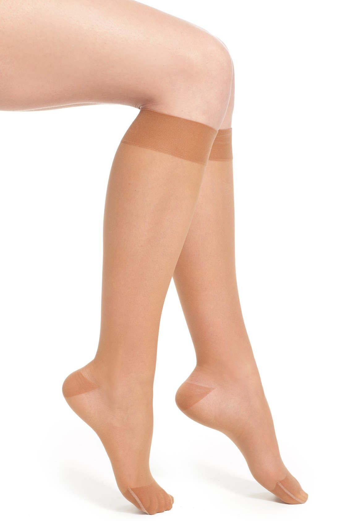Sheer Compression Knee High Socks,                         Main,                         color, Sun