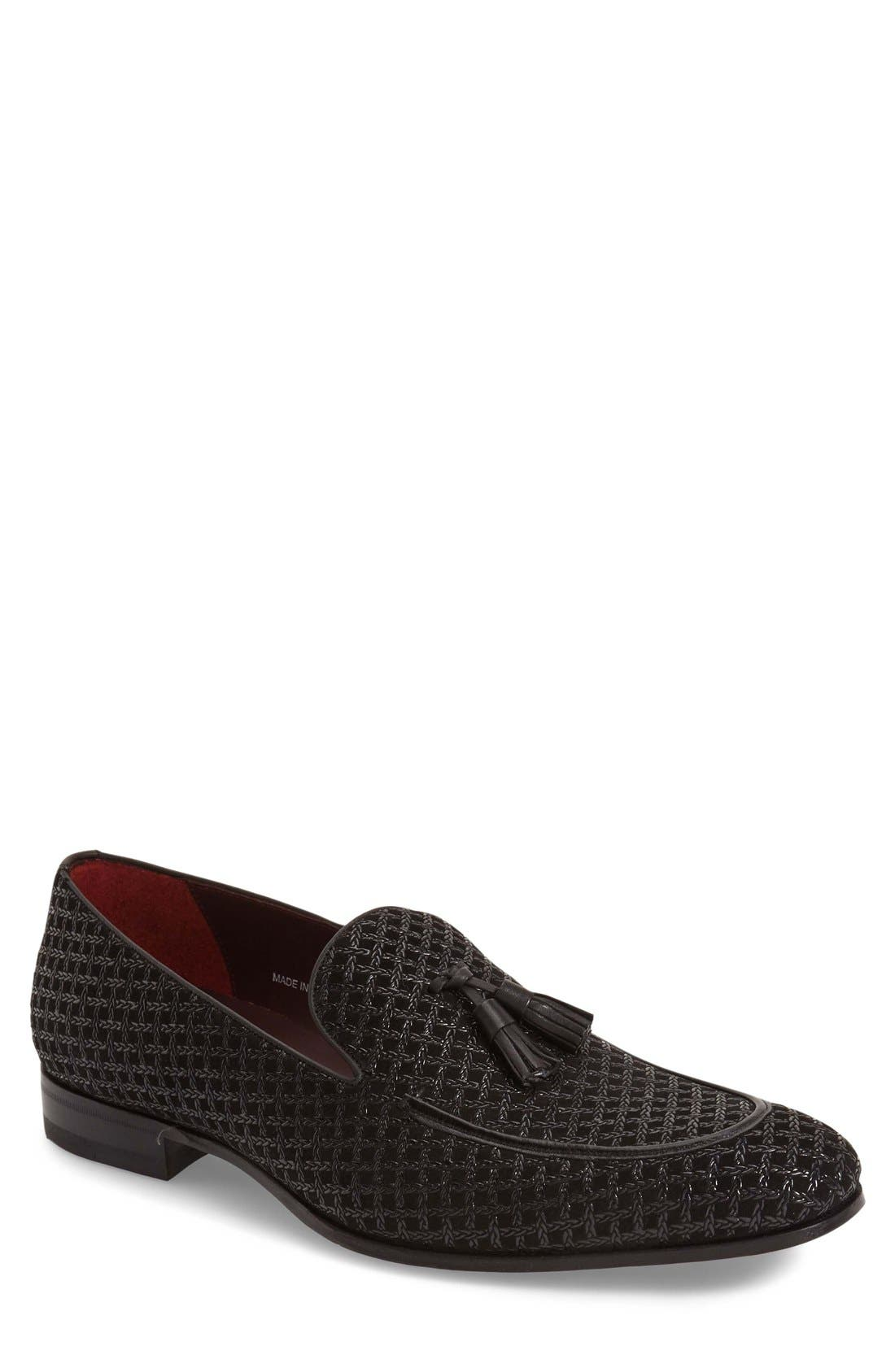 'Carol' Tassel Loafer,                             Main thumbnail 1, color,                             Black Patterned Fabric