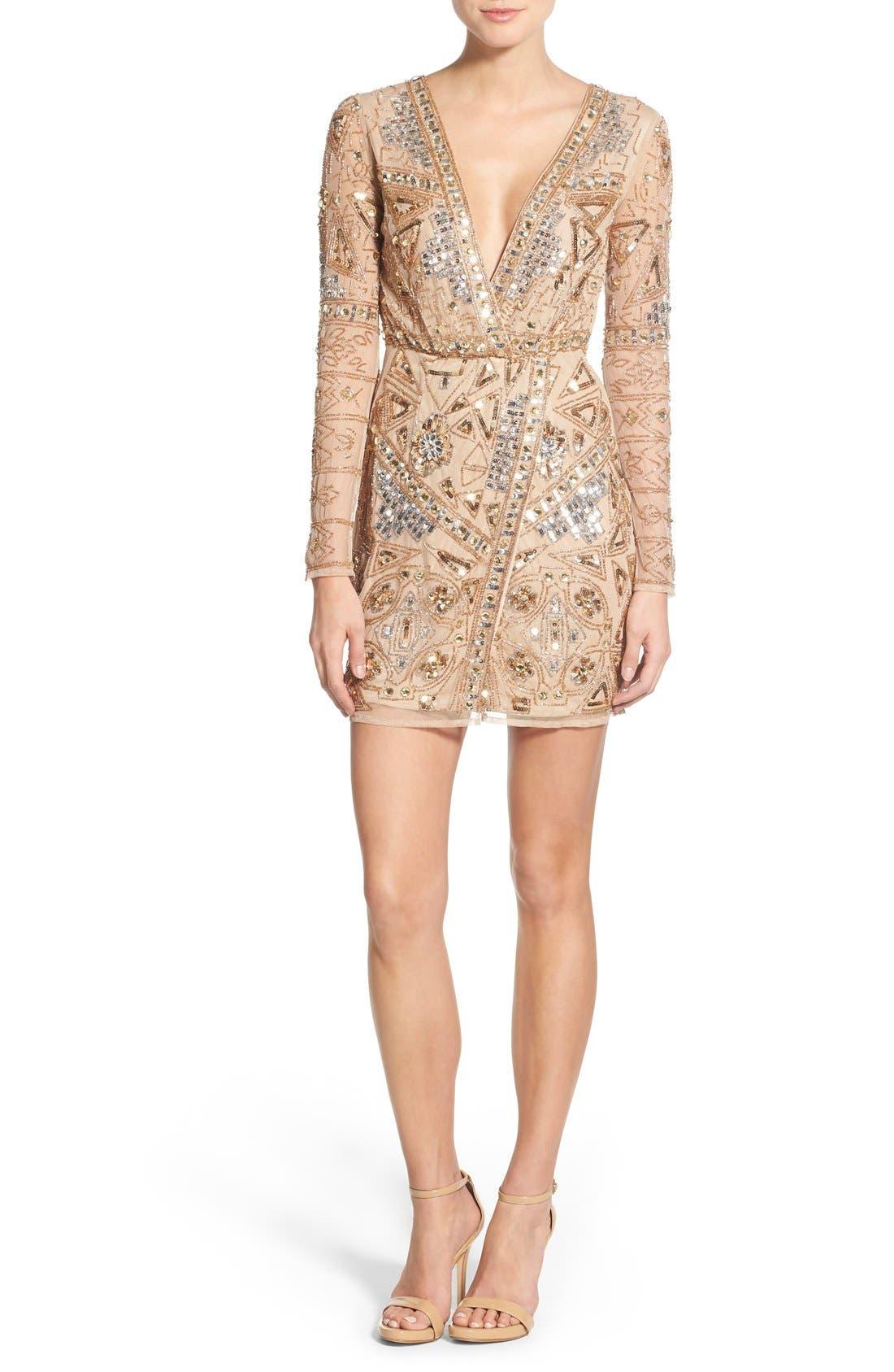 Main Image - Missguided Embellished Plunge Wrap Dress