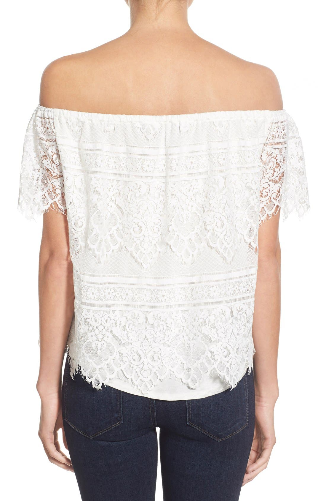 Alternate Image 2  - cupcakes and cashmere 'Sunset Lace' Off the Shoulder Top