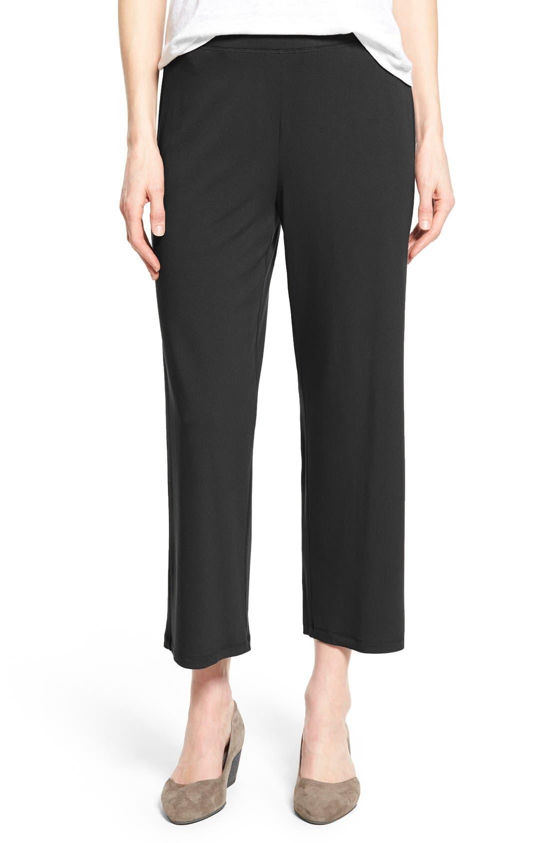 Crop Jersey Pants,                         Main,                         color, Black