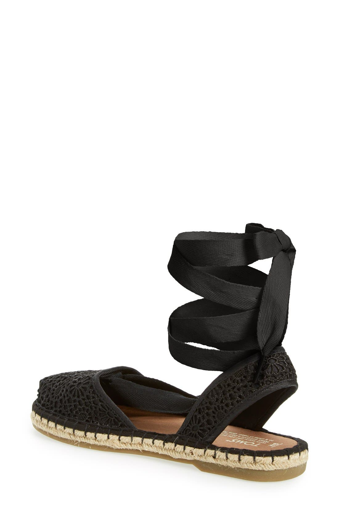 'Bella' Espadrille Sandal,                             Alternate thumbnail 2, color,                             Black Crochet