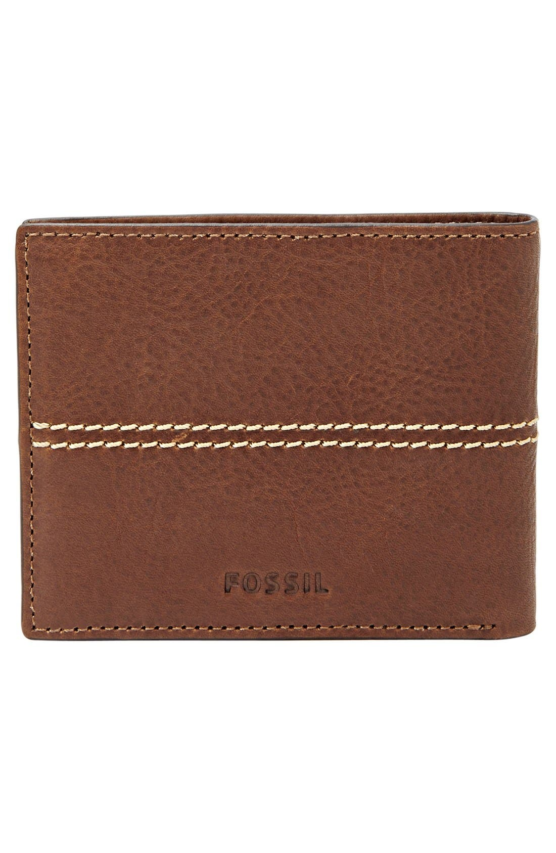'Turk' Leather RFID Wallet,                             Alternate thumbnail 4, color,                             Brown