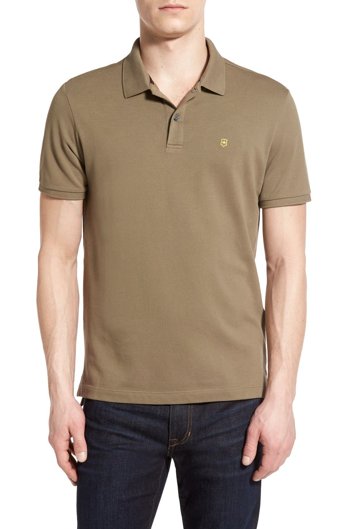 Main Image - Victorinox Swiss Army® 'VX Stretch' Tailored Fit Piqué Polo (Online Only)