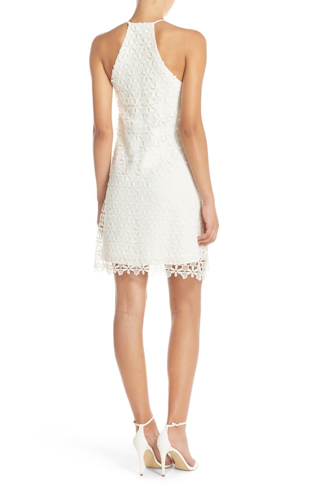 Floral Lace Trapeze Halter Dress,                             Alternate thumbnail 2, color,                             White Snow