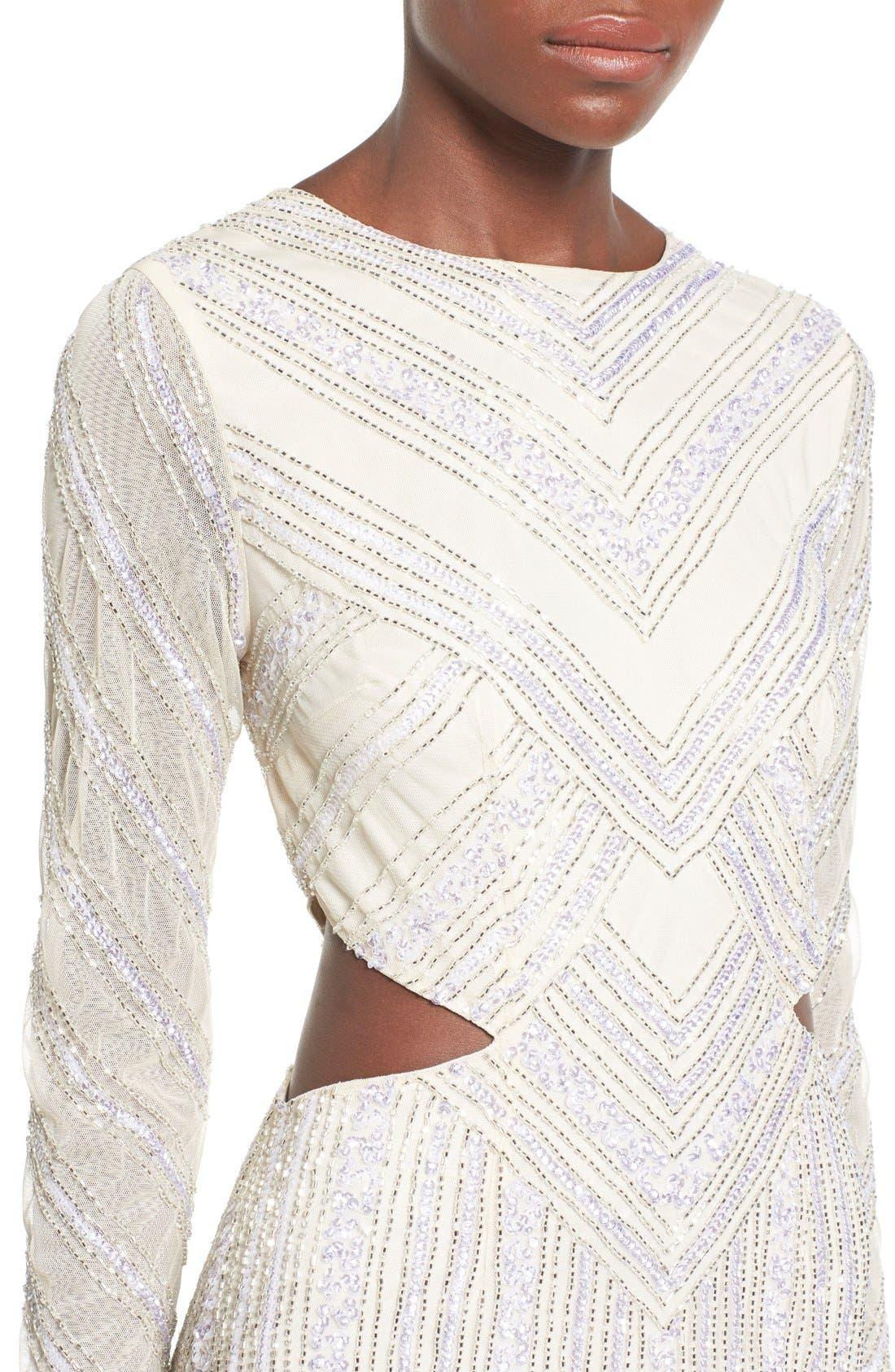Embellished Cutout Sheath Dress,                             Alternate thumbnail 4, color,                             White