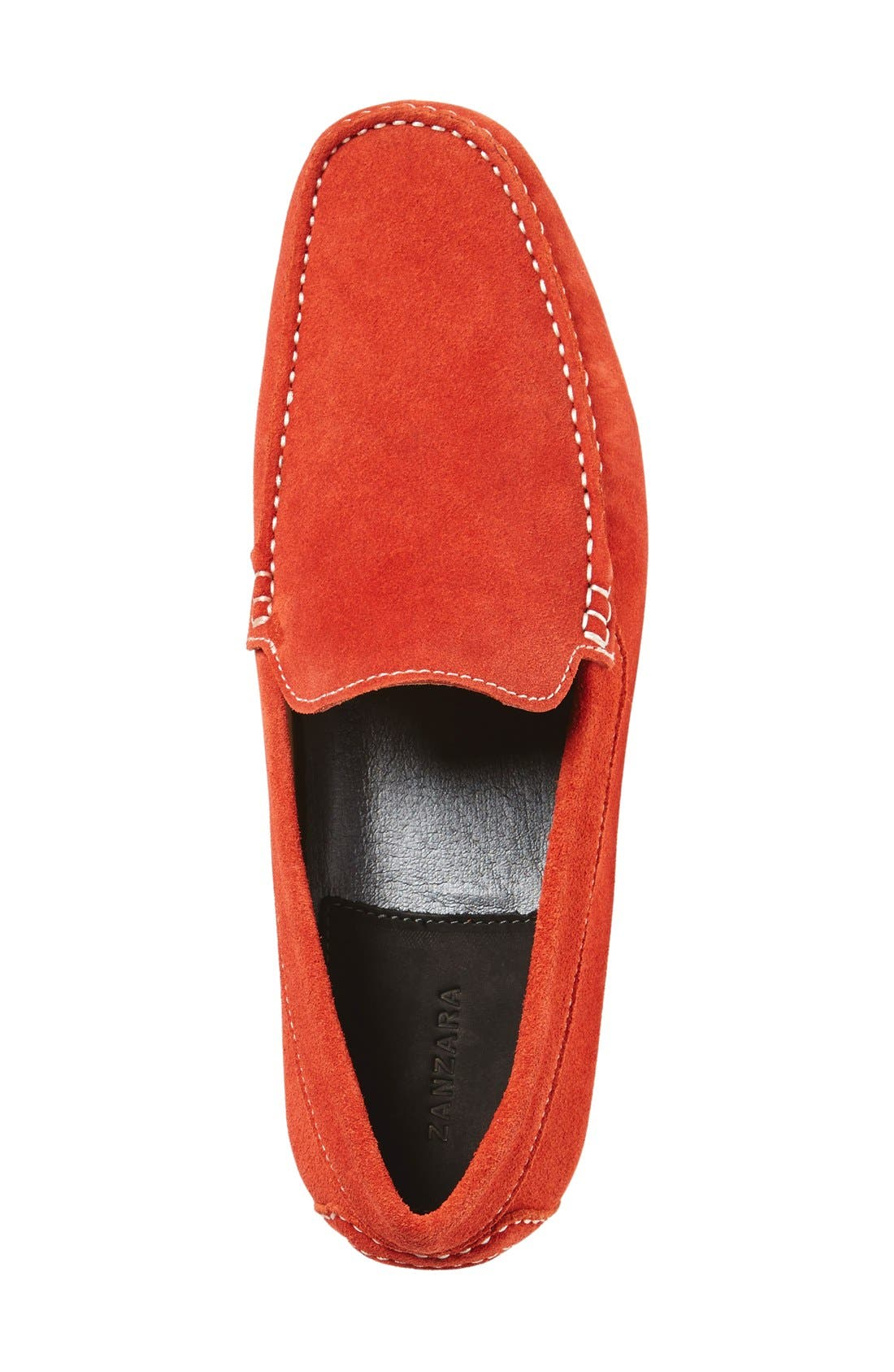 'Picasso' Slip-On Driver,                             Alternate thumbnail 4, color,                             Orange Leather