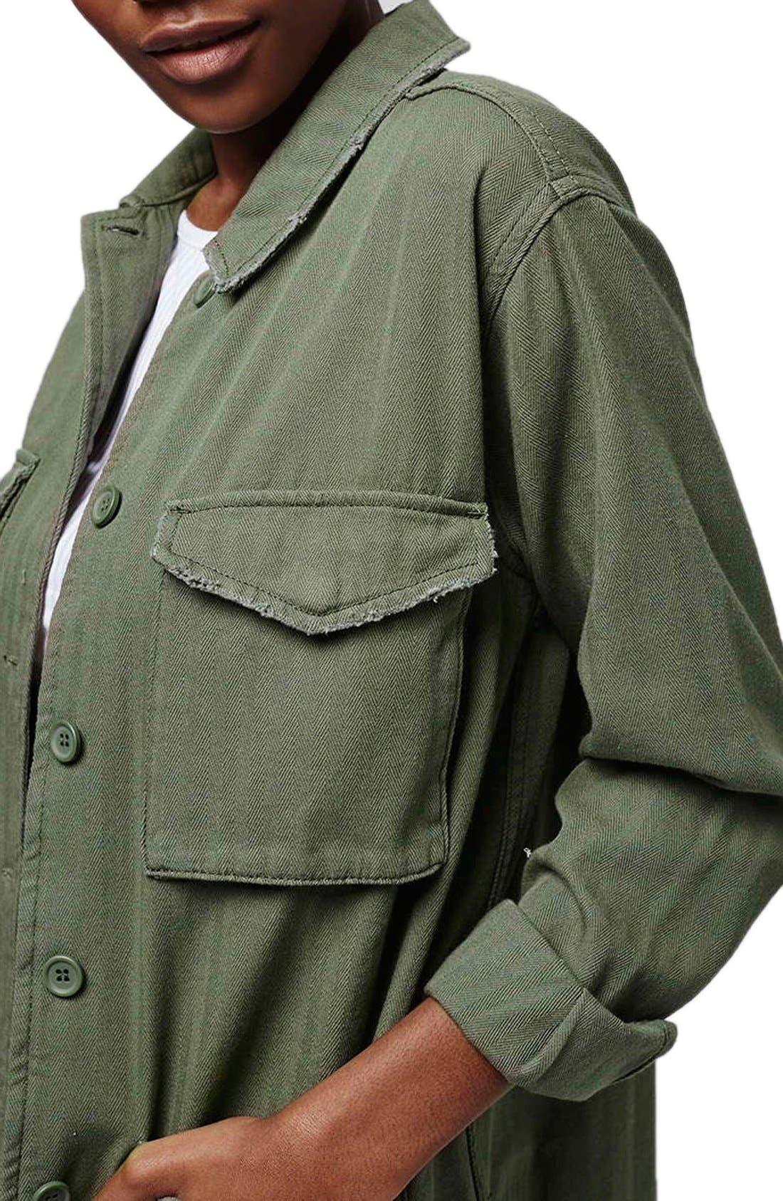 Authentic Washed Khaki Jacket,                             Alternate thumbnail 4, color,                             Olive