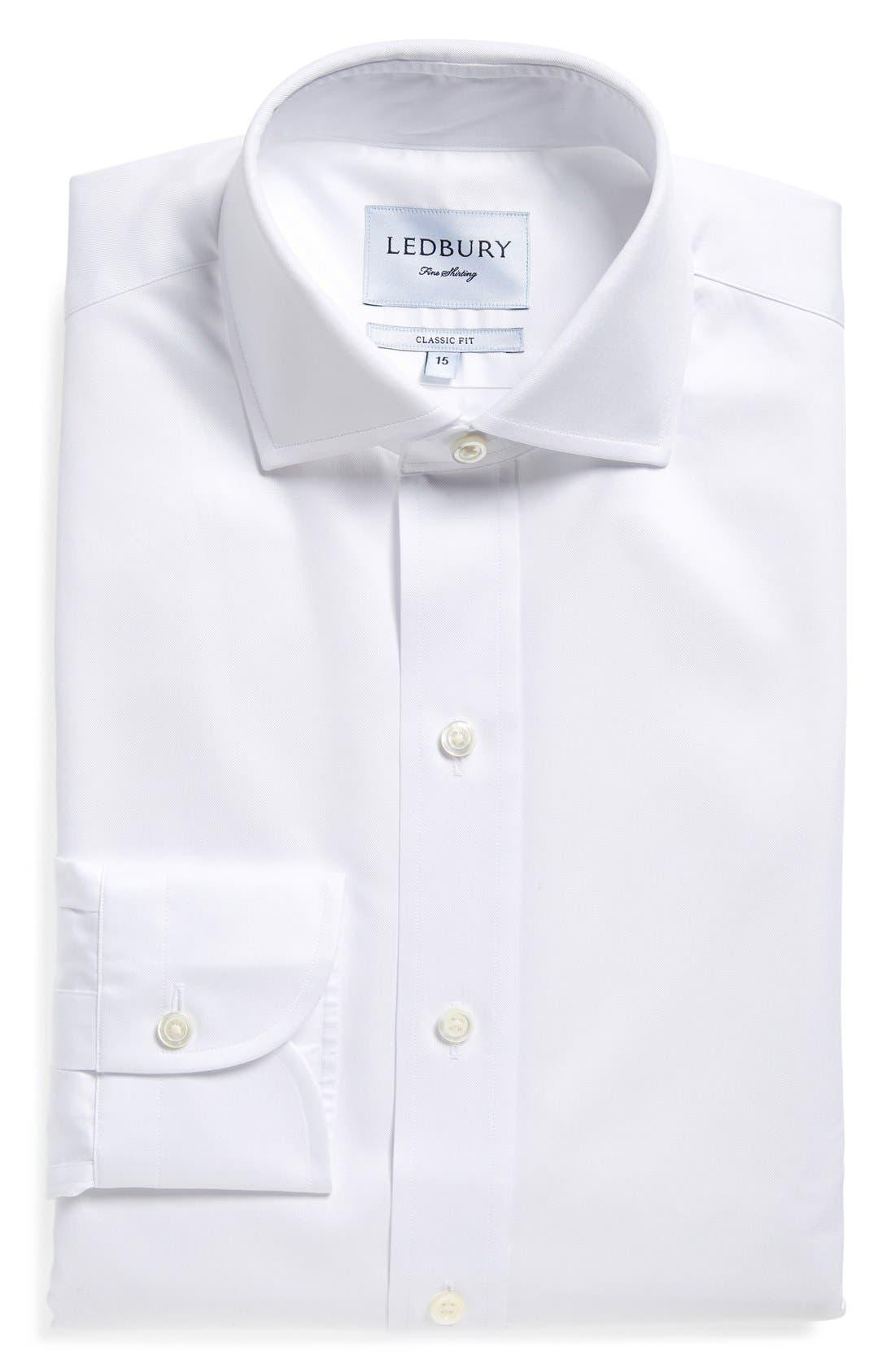 Classic Fit Fine Twill Dress Shirt,                             Main thumbnail 1, color,                             White