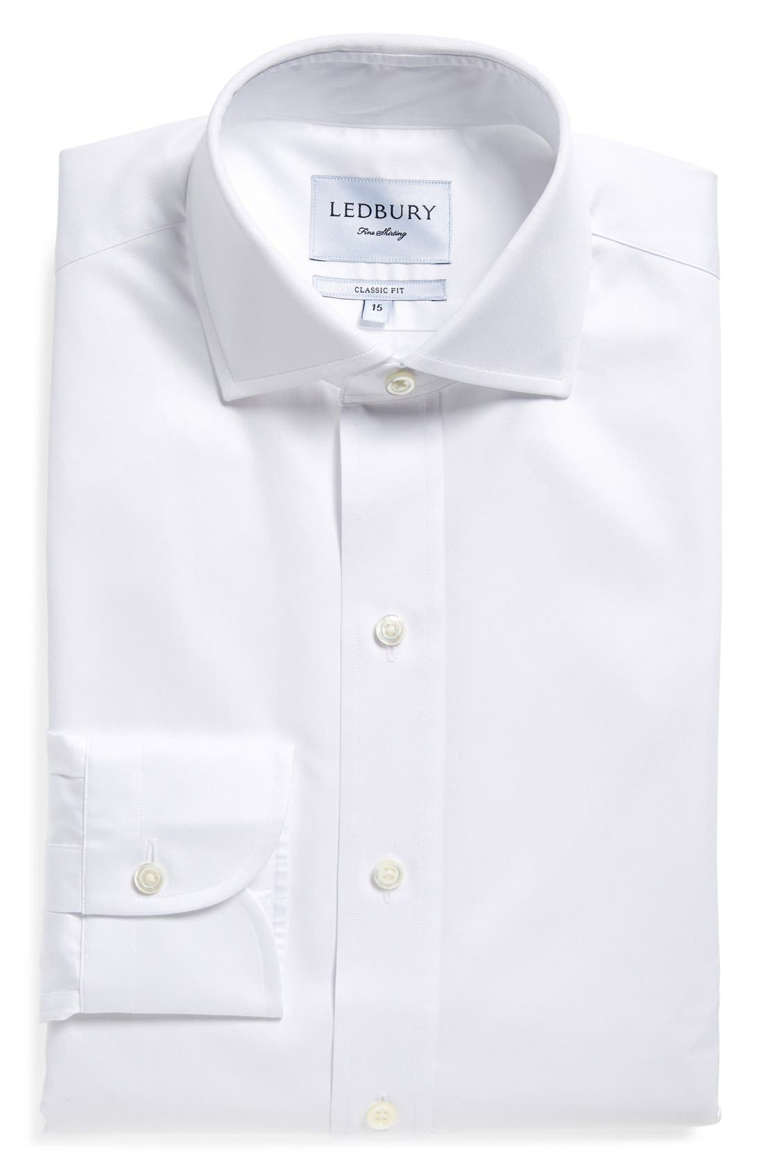 LEDBURY Classic Fit Fine Twill Dress Shirt in White