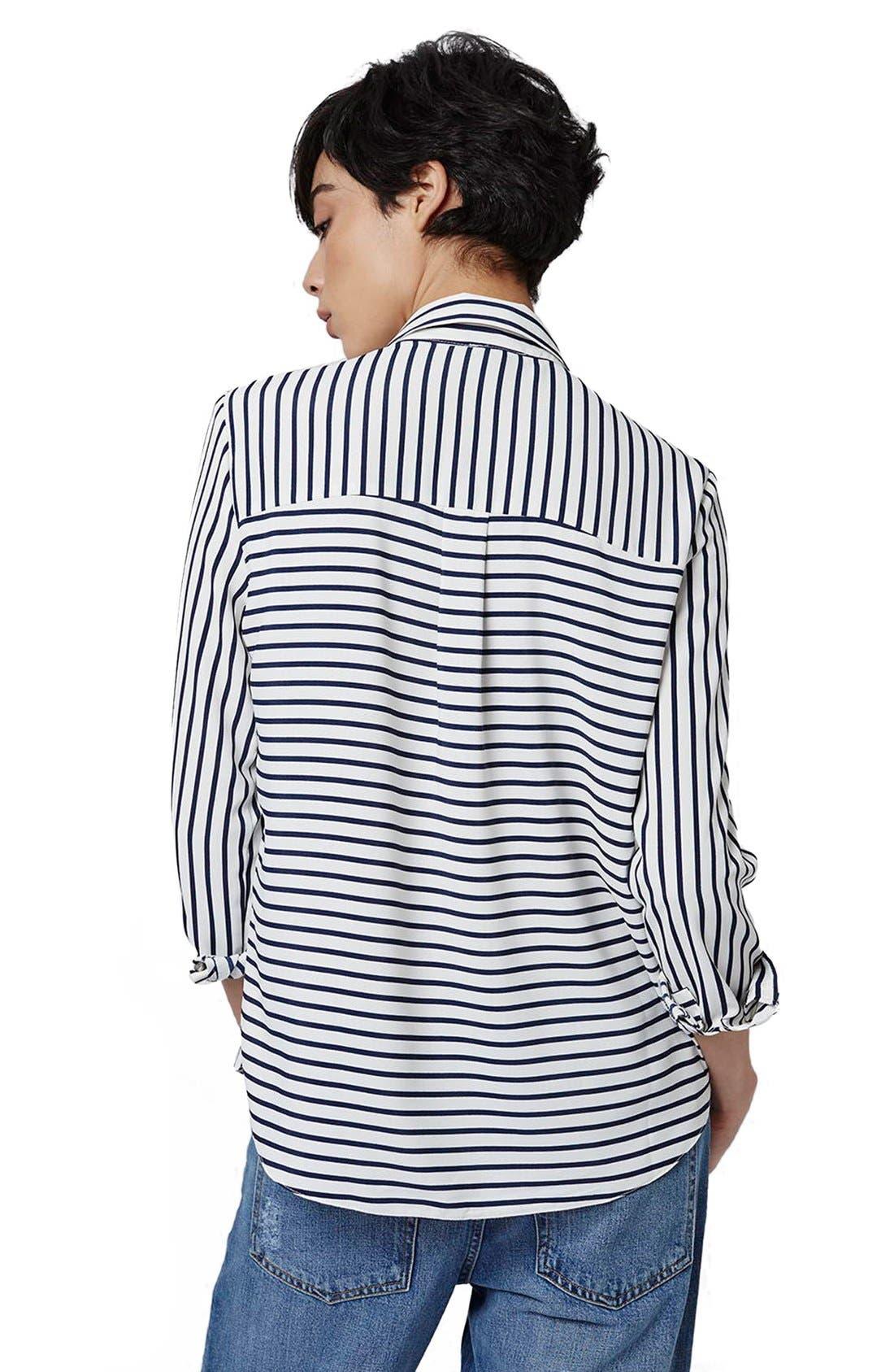 Alternate Image 3  - Topshop 'Olivia' Paneled Stripe Shirt