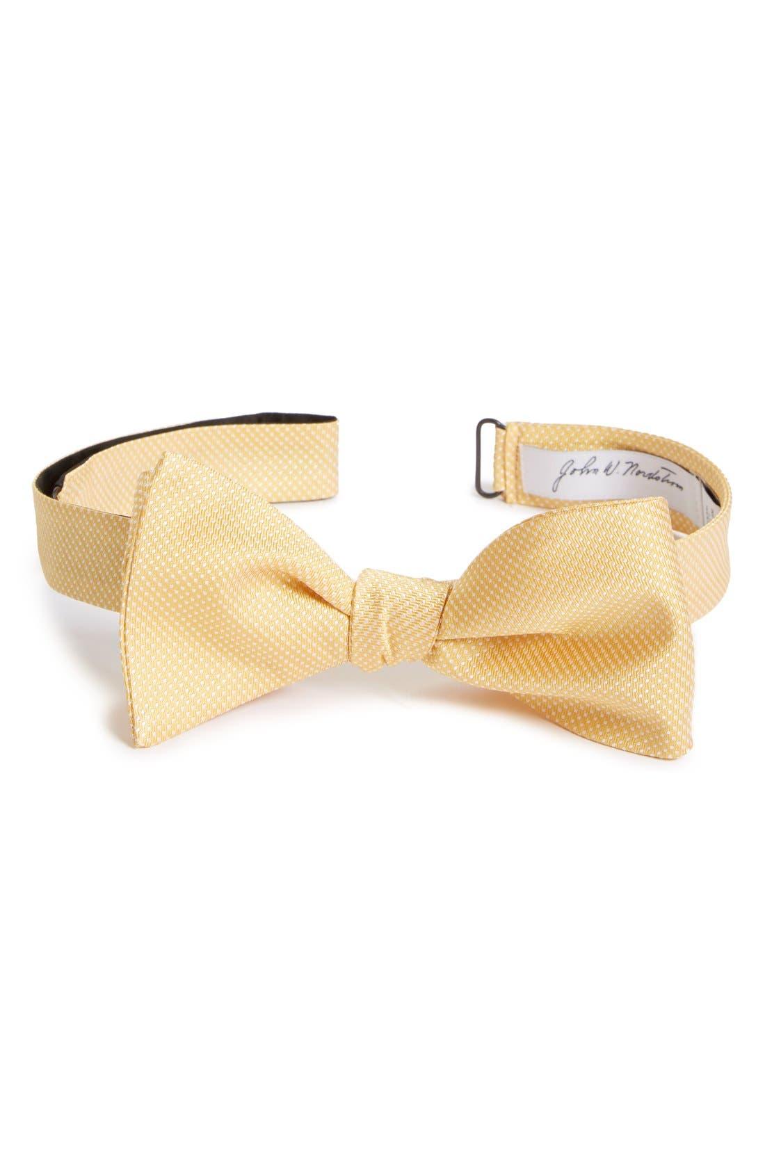 Dot Silk Bow Tie,                             Main thumbnail 1, color,                             Yellow