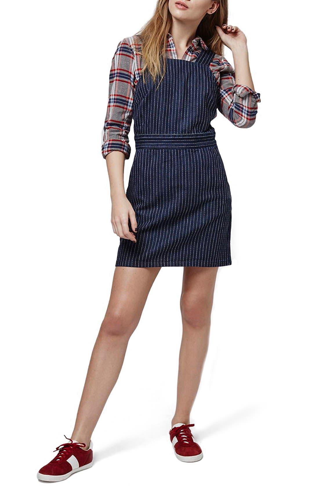 Main Image - Topshop Pinstripe Denim Pinafore Dress