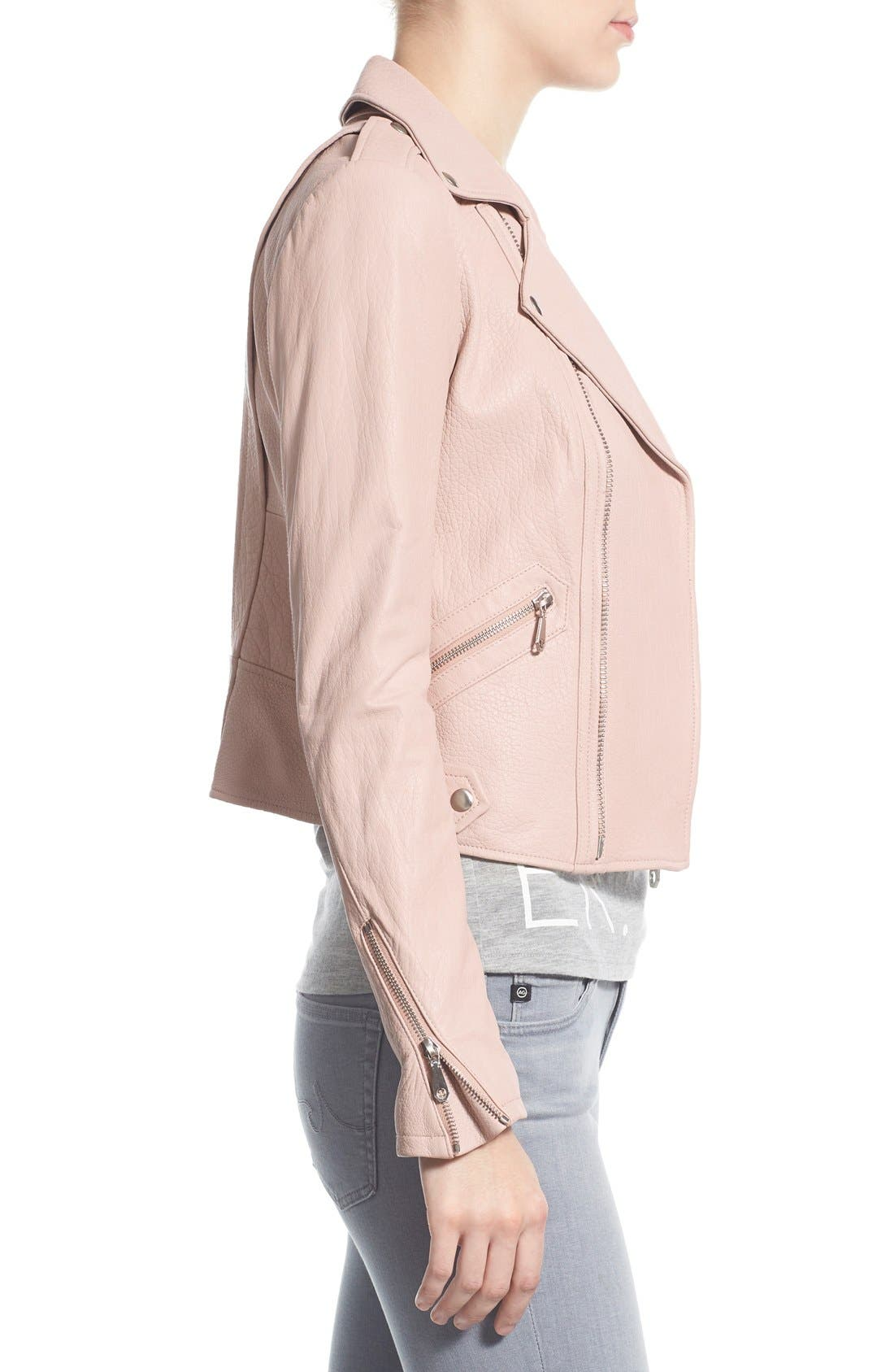 Pebble Leather Jacket,                             Alternate thumbnail 3, color,                             Nude Pink