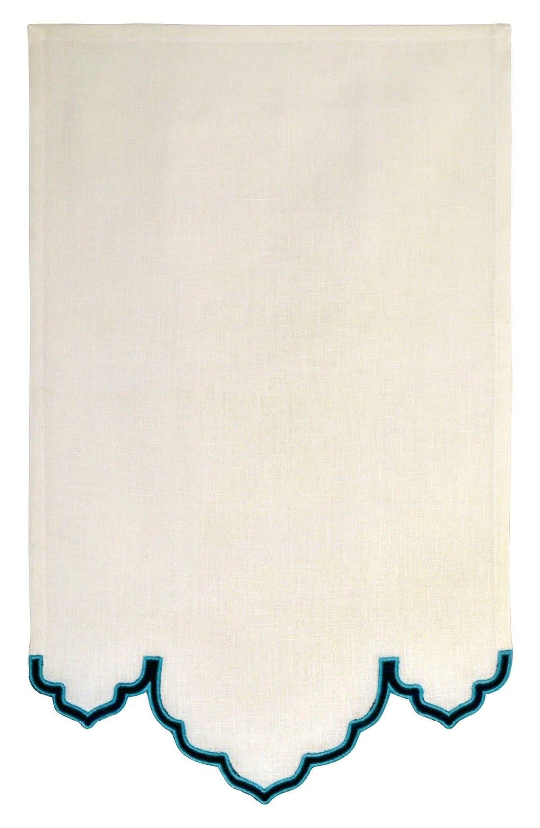 'Fiza' Line Guest Towel,                             Main thumbnail 1, color,                             Indigo/ Peacock