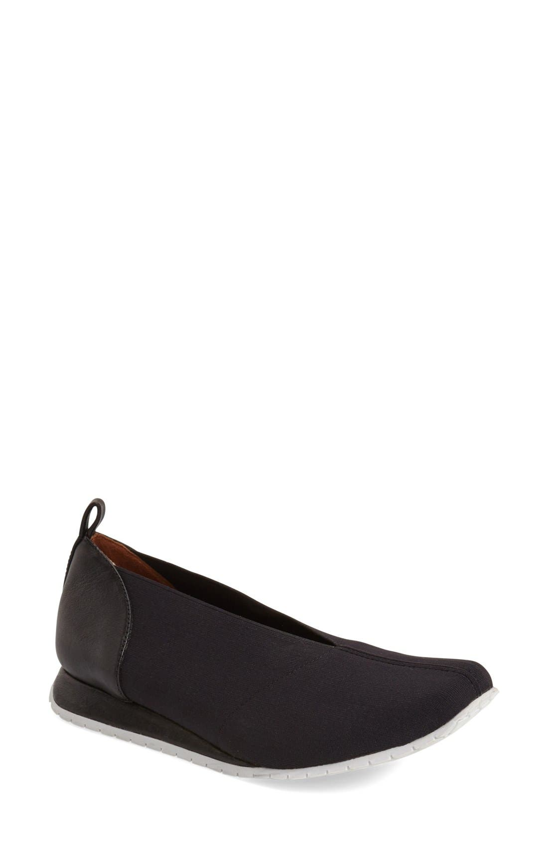 'Telfer' Slip-On Sneaker,                         Main,                         color, Black Stretch Fabric