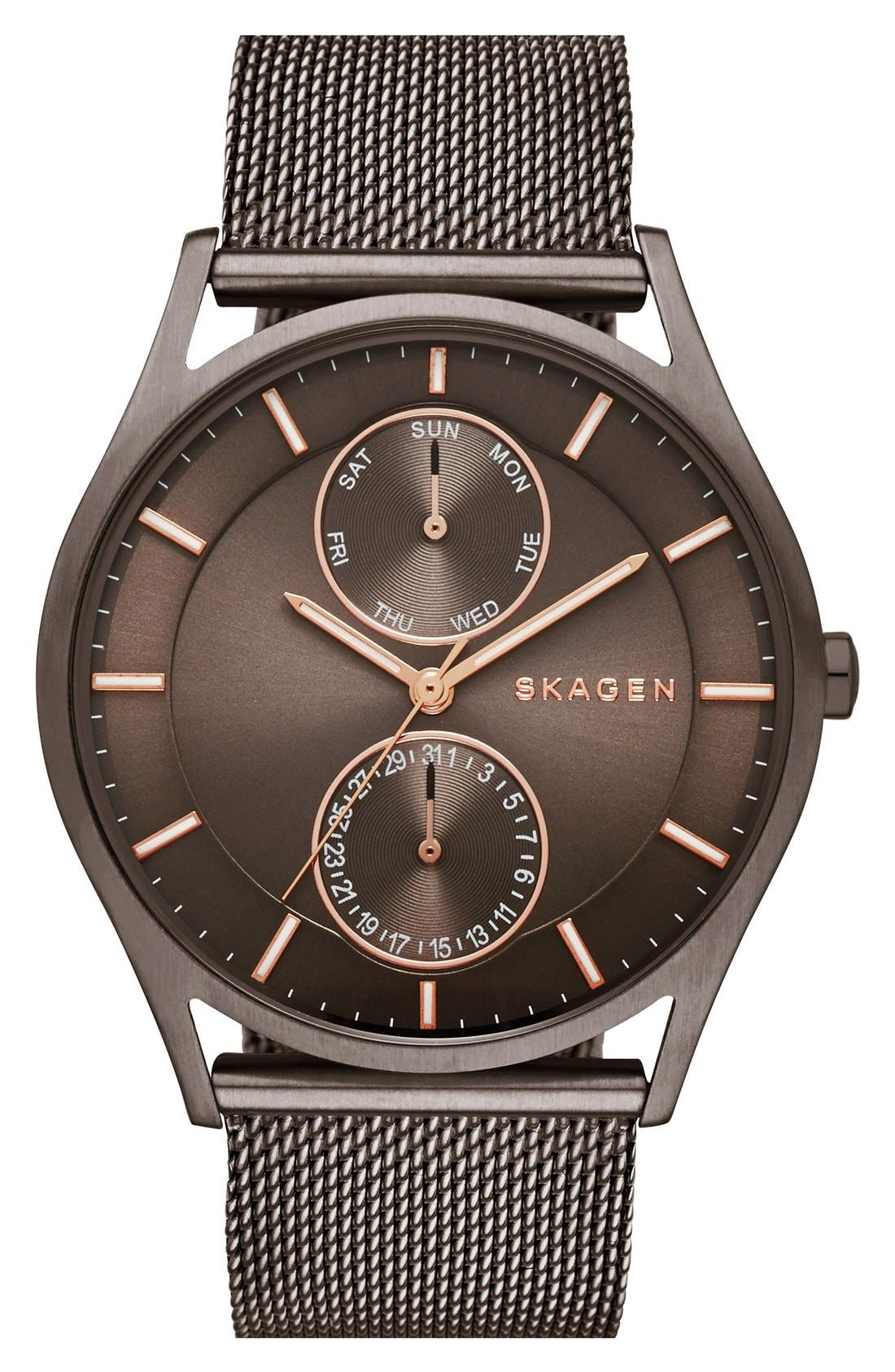 'Holst' Multifunction Mesh Strap Watch, 40mm,                         Main,                         color, Silver/ Grey/ Rose Gold