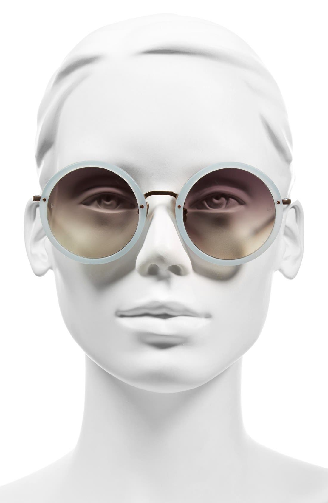 51mm Round 18 Karat Rose Gold Sunglasses,                             Alternate thumbnail 2, color,                             Iris/ Grey Grad