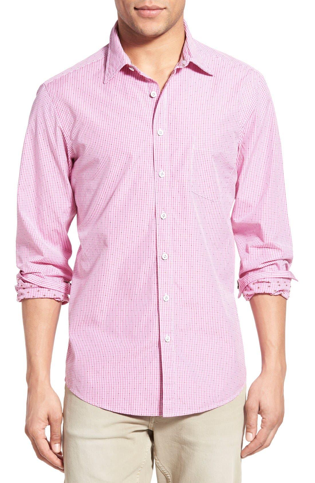 'Freeman' Sports Fit Check Sport Shirt,                         Main,                         color, Fuchsia