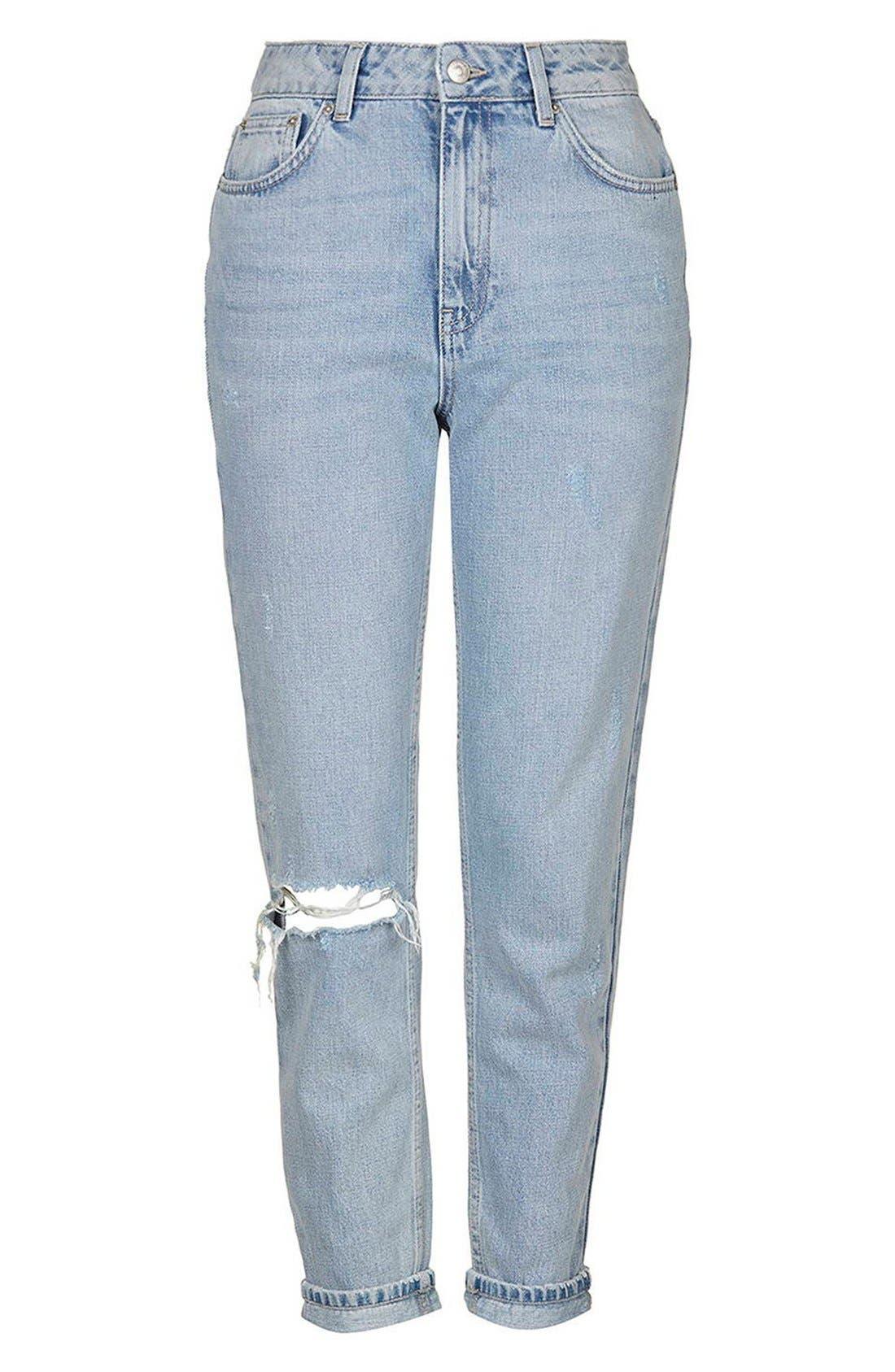 Alternate Image 4  - Topshop High Rise Ripped Mom Jeans (Regular & Petite)