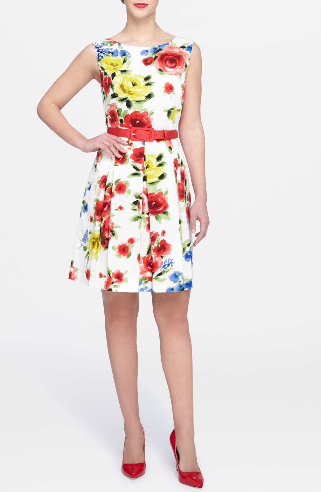 Alternate Image 1 Selected - Tahari Floral Faille Fit & Flare Dress (Regular & Petite)