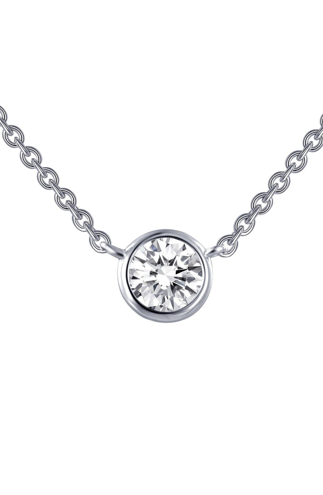 Simulated Diamond Pendant Necklace,                         Main,                         color, Silver/ Clear