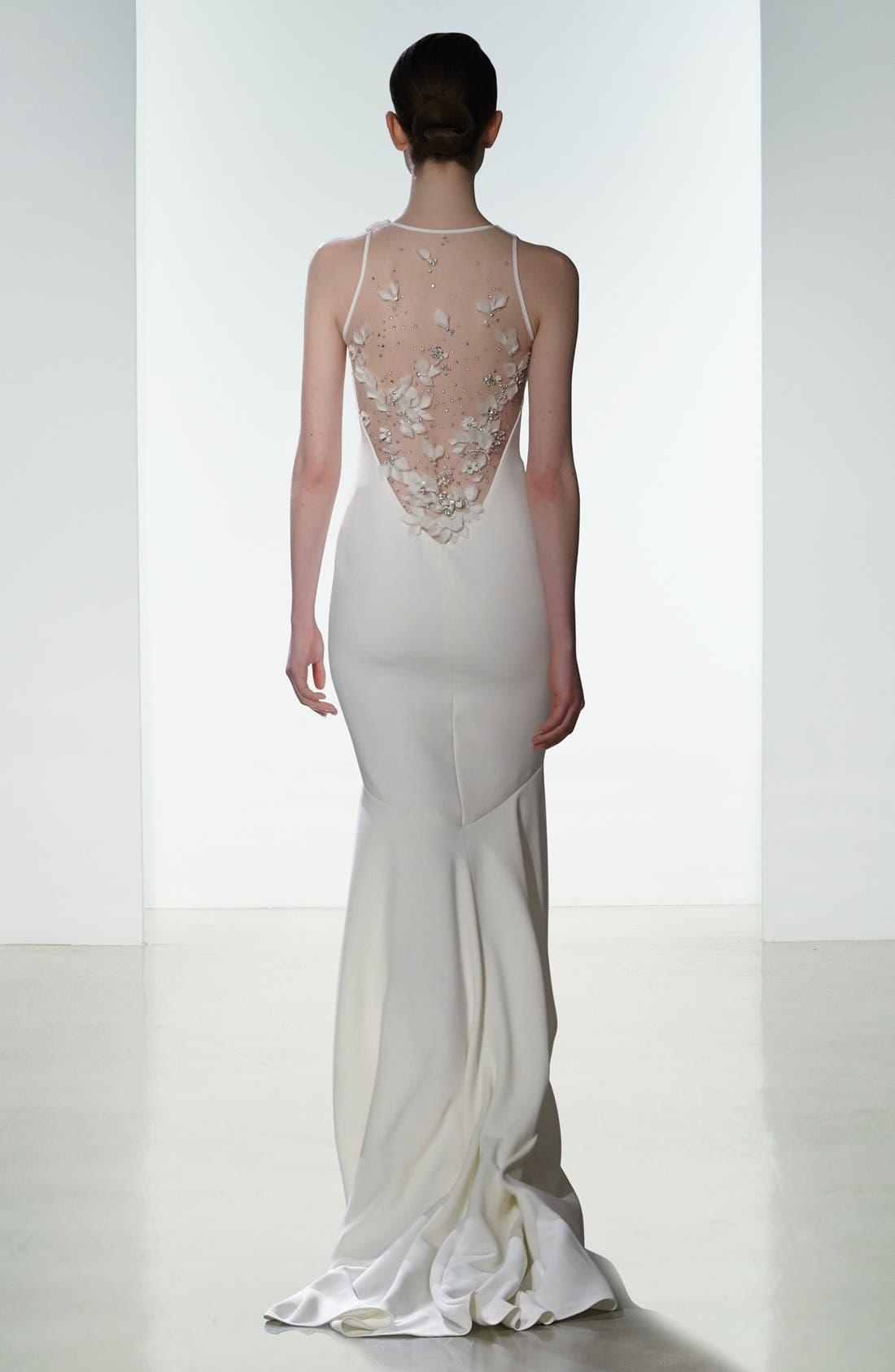 Alternate Image 2  - Amsale Brody Embellished Back Crepe Mermaid Gown