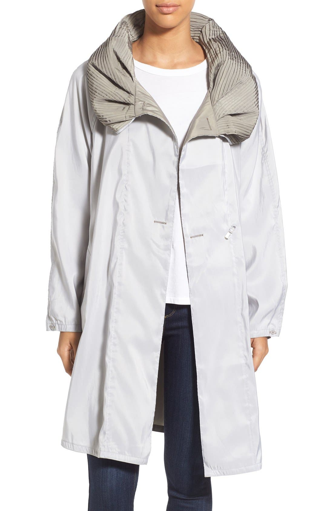 Mycra Pac Designer Wear Reversible Pleat Hood Packable Travel Coat