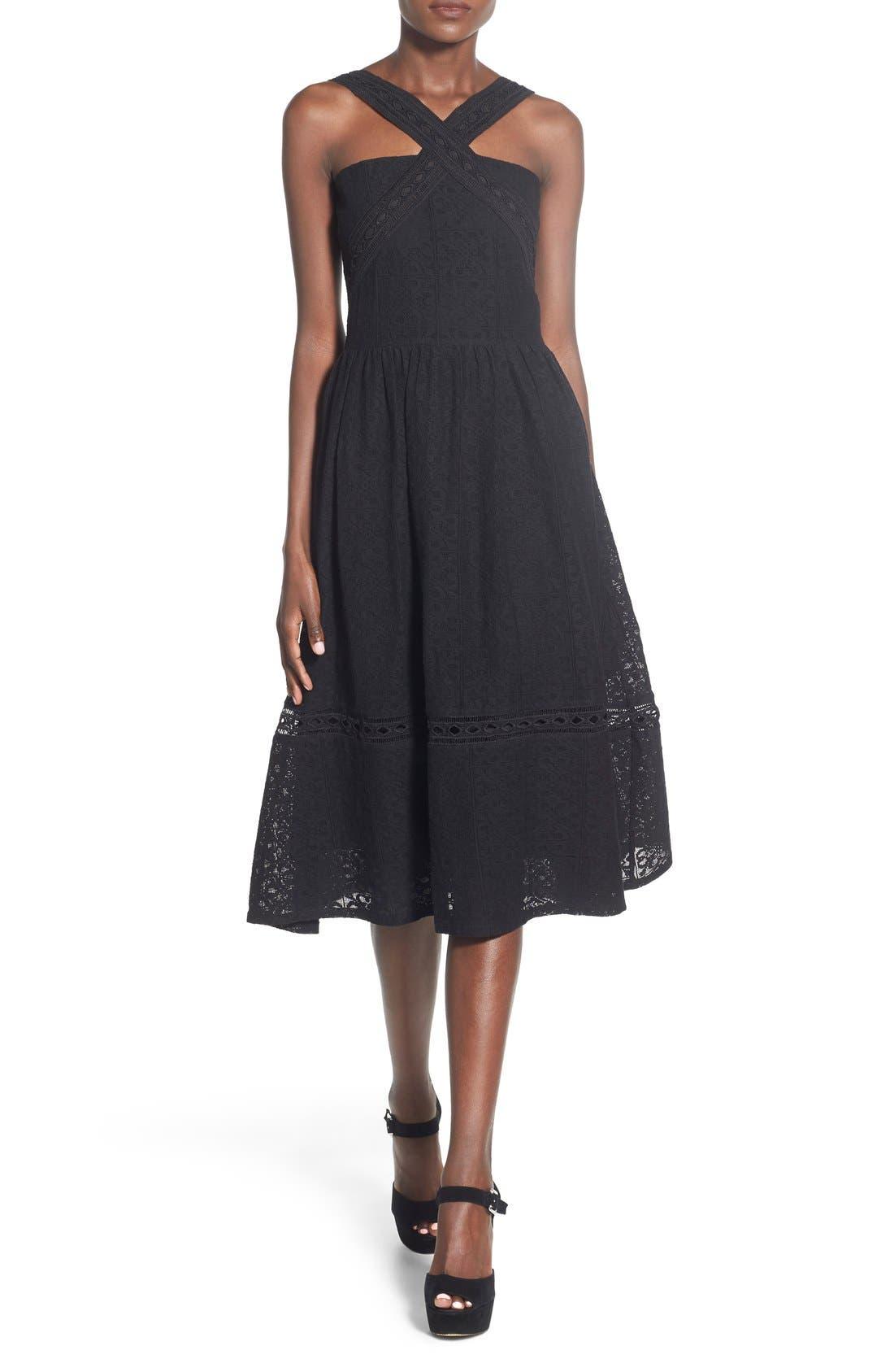 Lace Fit & Flare Midi Dress,                             Main thumbnail 1, color,                             Black