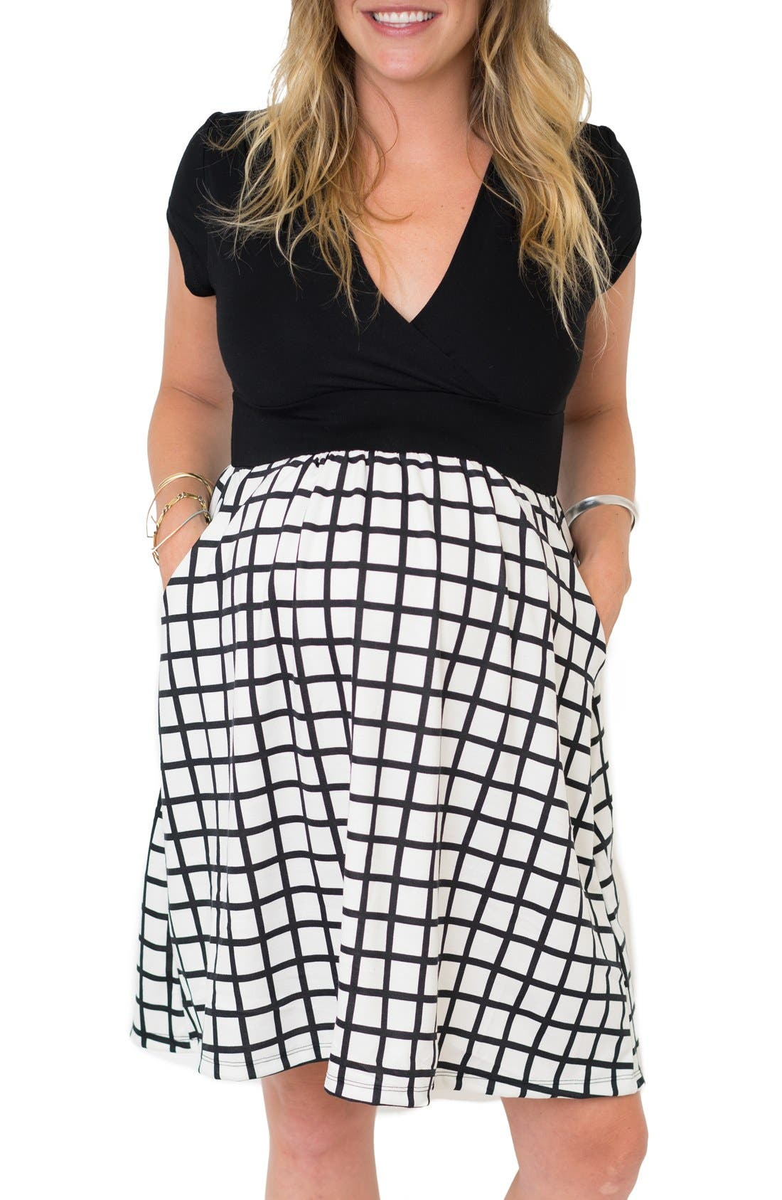 'Samantha' Surplice Maternity/Nursing Dress,                         Main,                         color, Black Windowpane