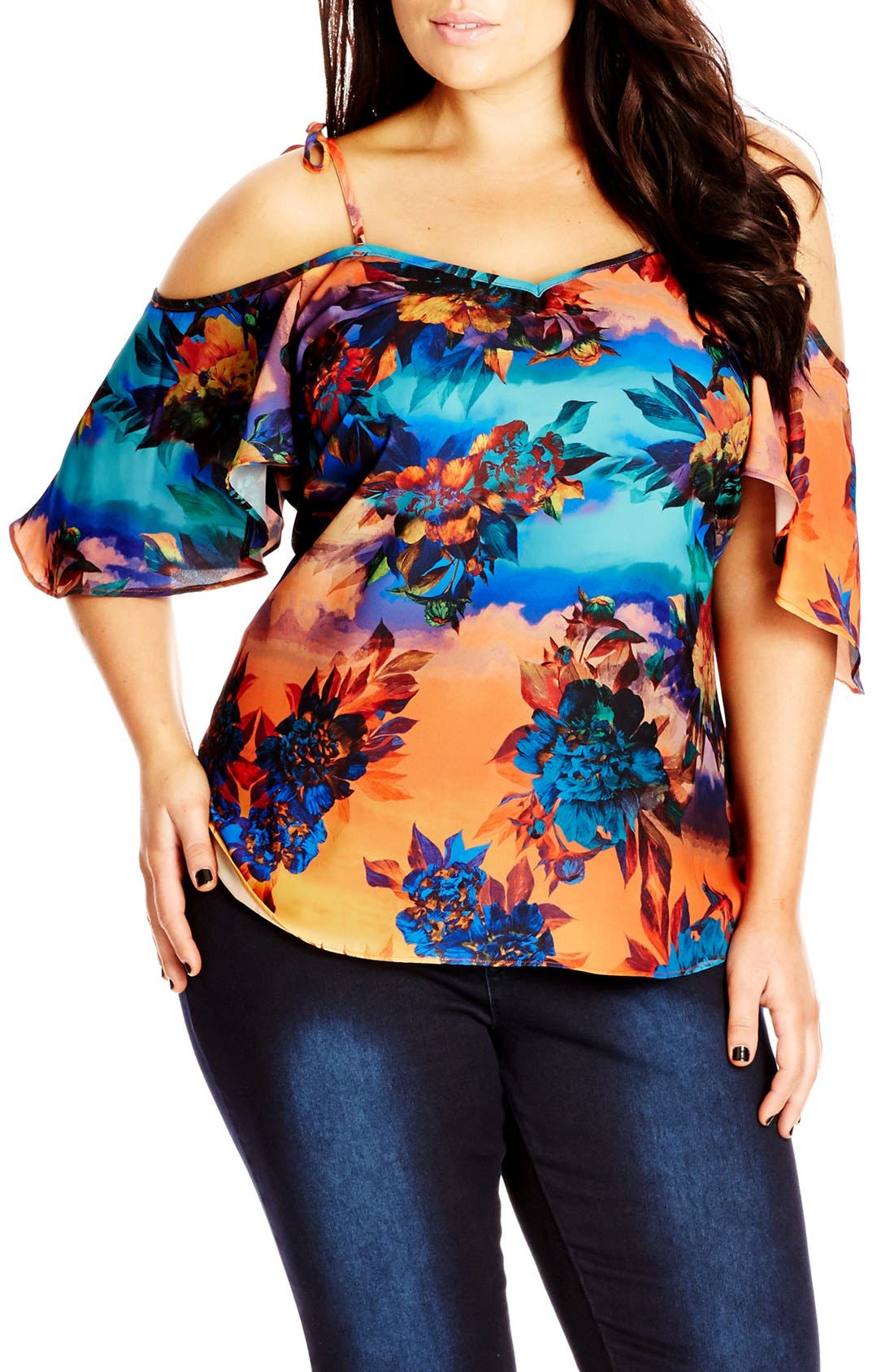 Alternate Image 1 Selected - City Chic 'Summer Nights' Off the Shoulder Top (Plus Size)
