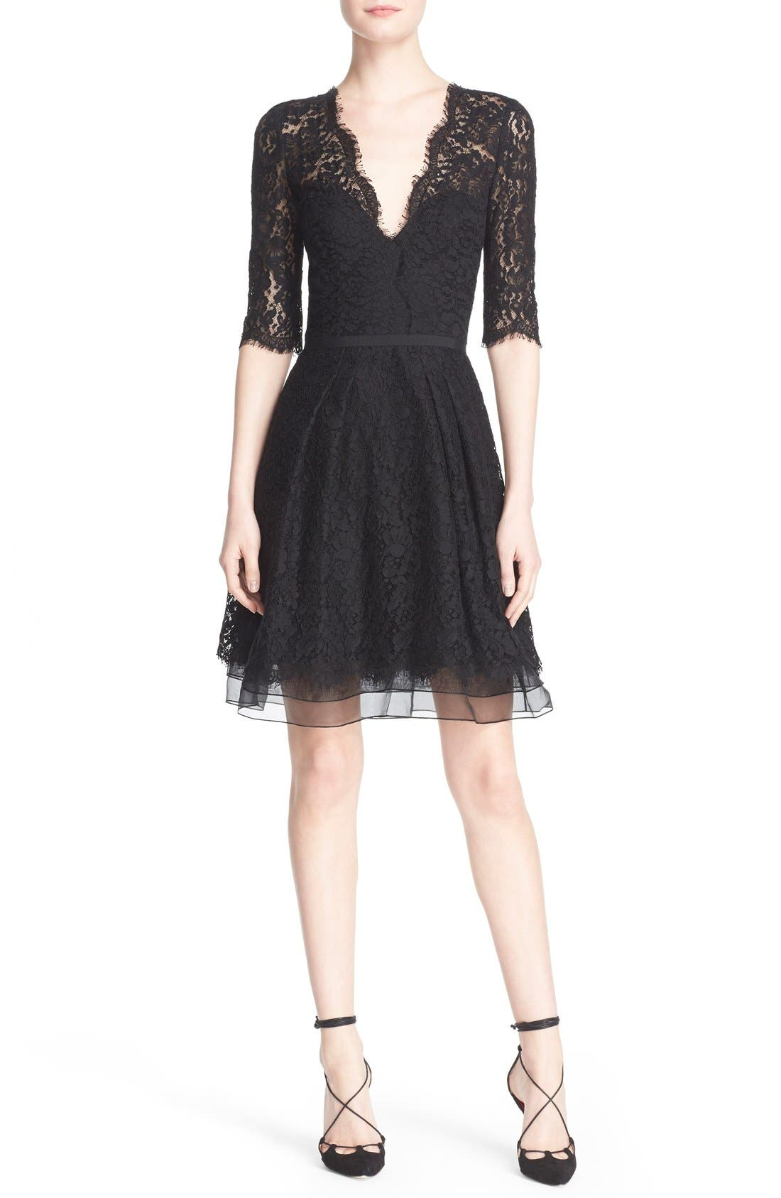 Lace A-Line Cocktail Dress,                             Main thumbnail 1, color,                             Black