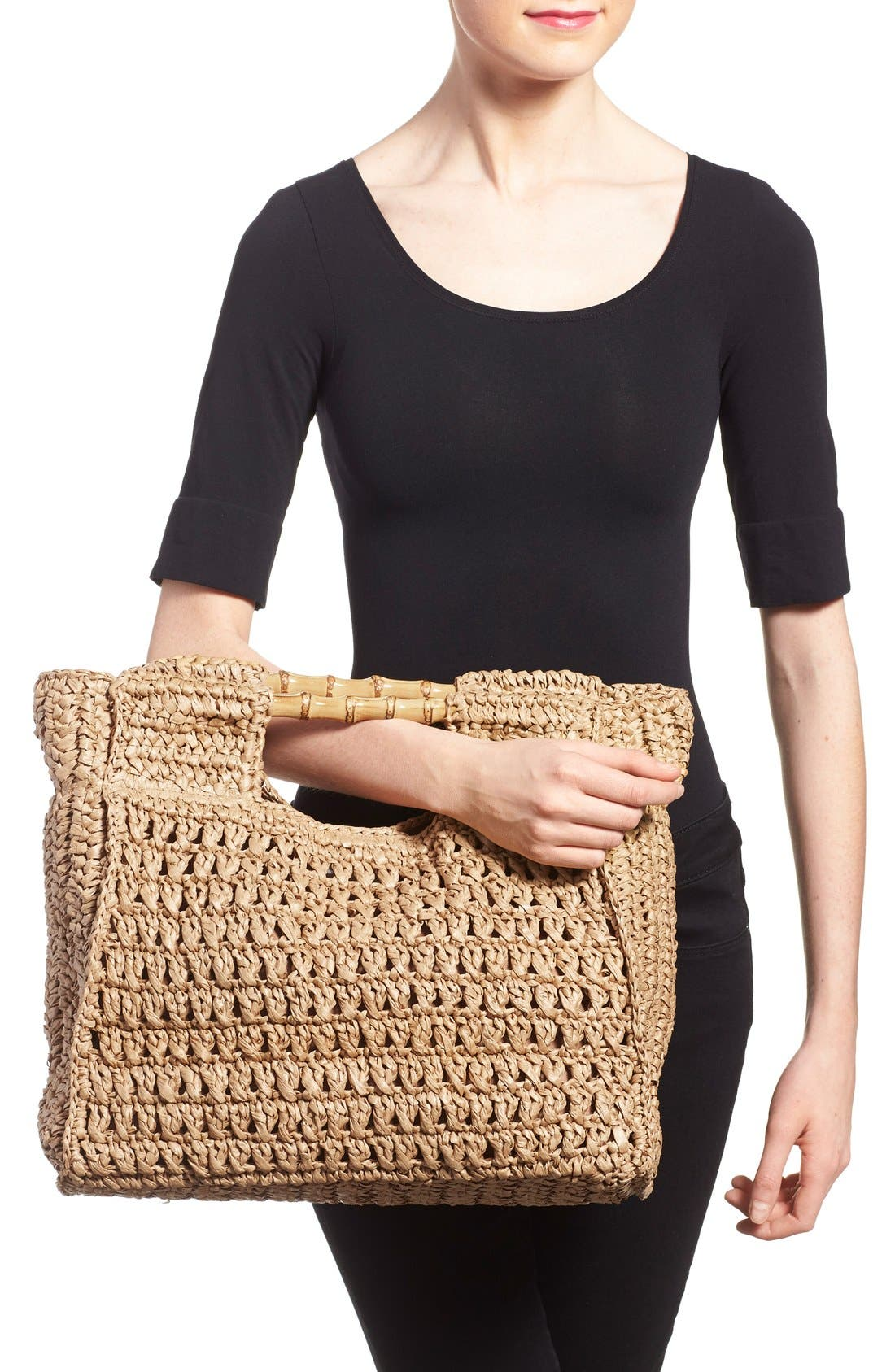 Woven Straw Tote,                             Alternate thumbnail 2, color,                             Natural